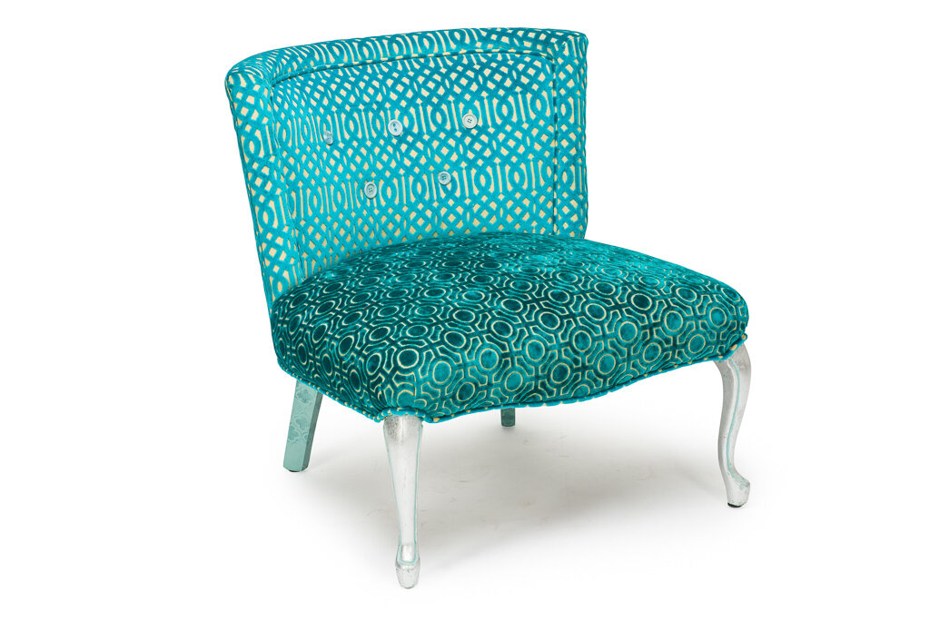 """And the """"after"""" re-imagined  Aqua Blue Velvet chair"""