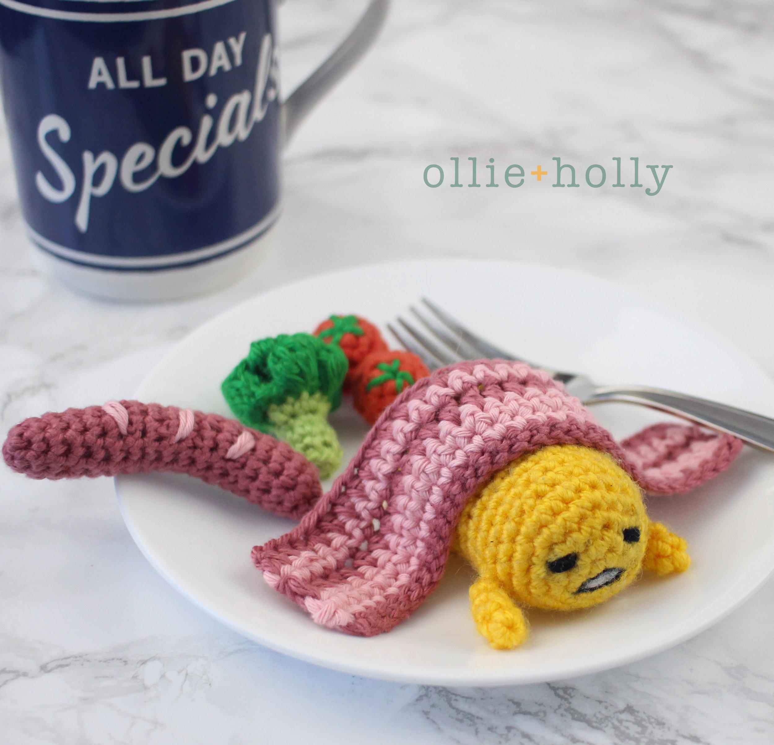 Free Gudetama Amigurumi Crochet Pattern On Plate