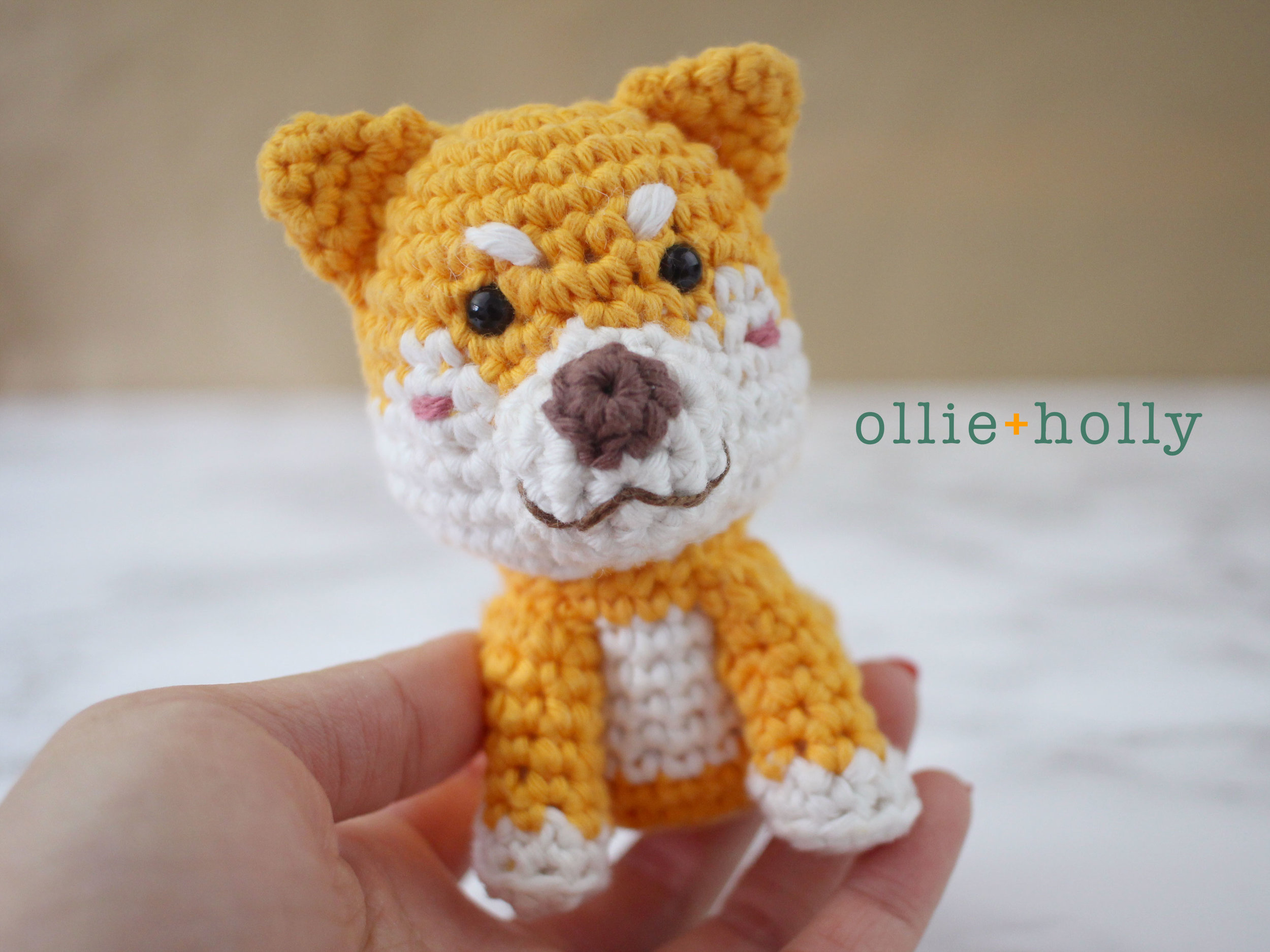 Ollie Holly Paintbox Cotton Aran Shiba Inu Amigurumi Example