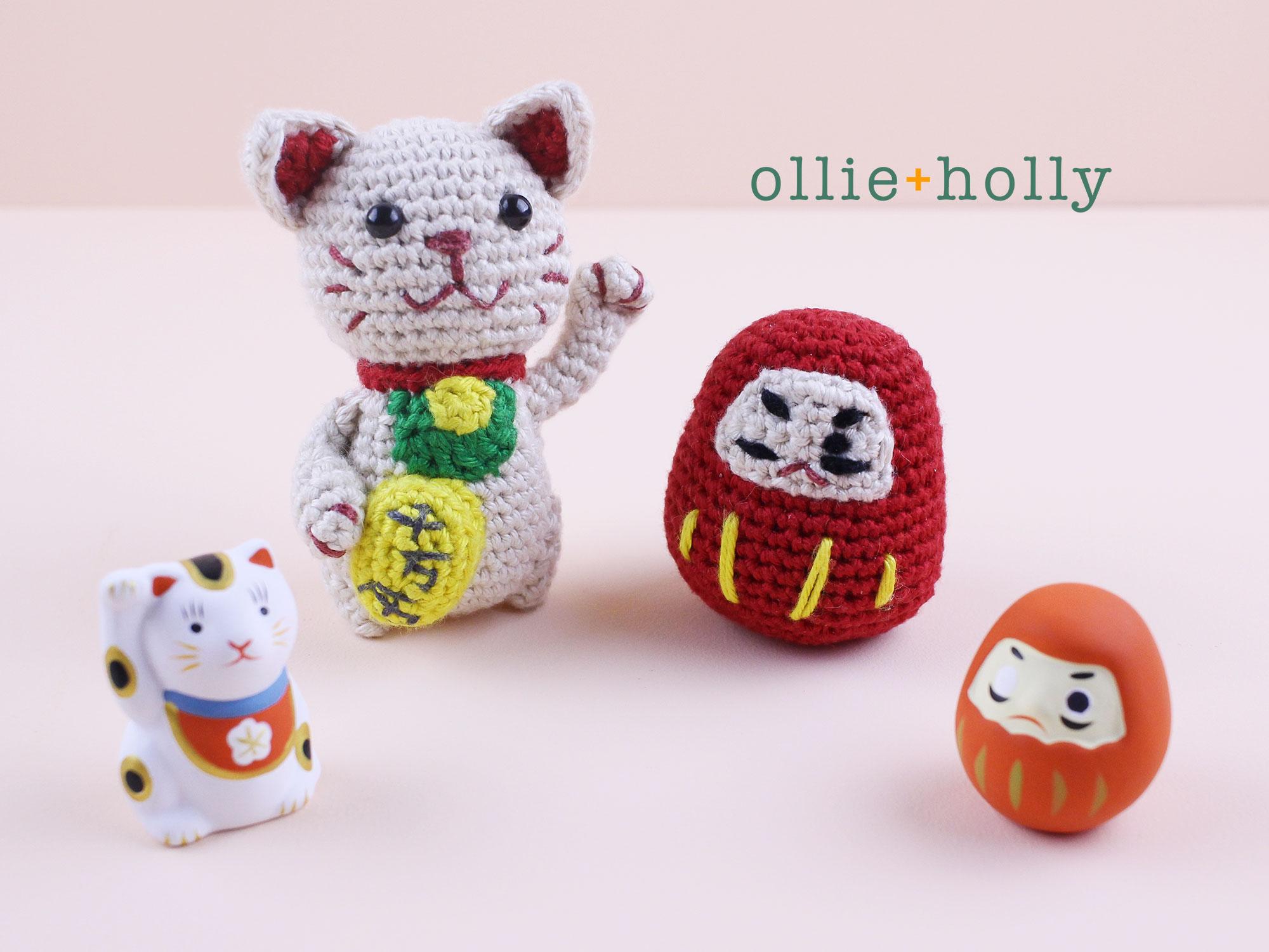Free Daruma & Maneki Neko Amigurumi Crochet Finished Item
