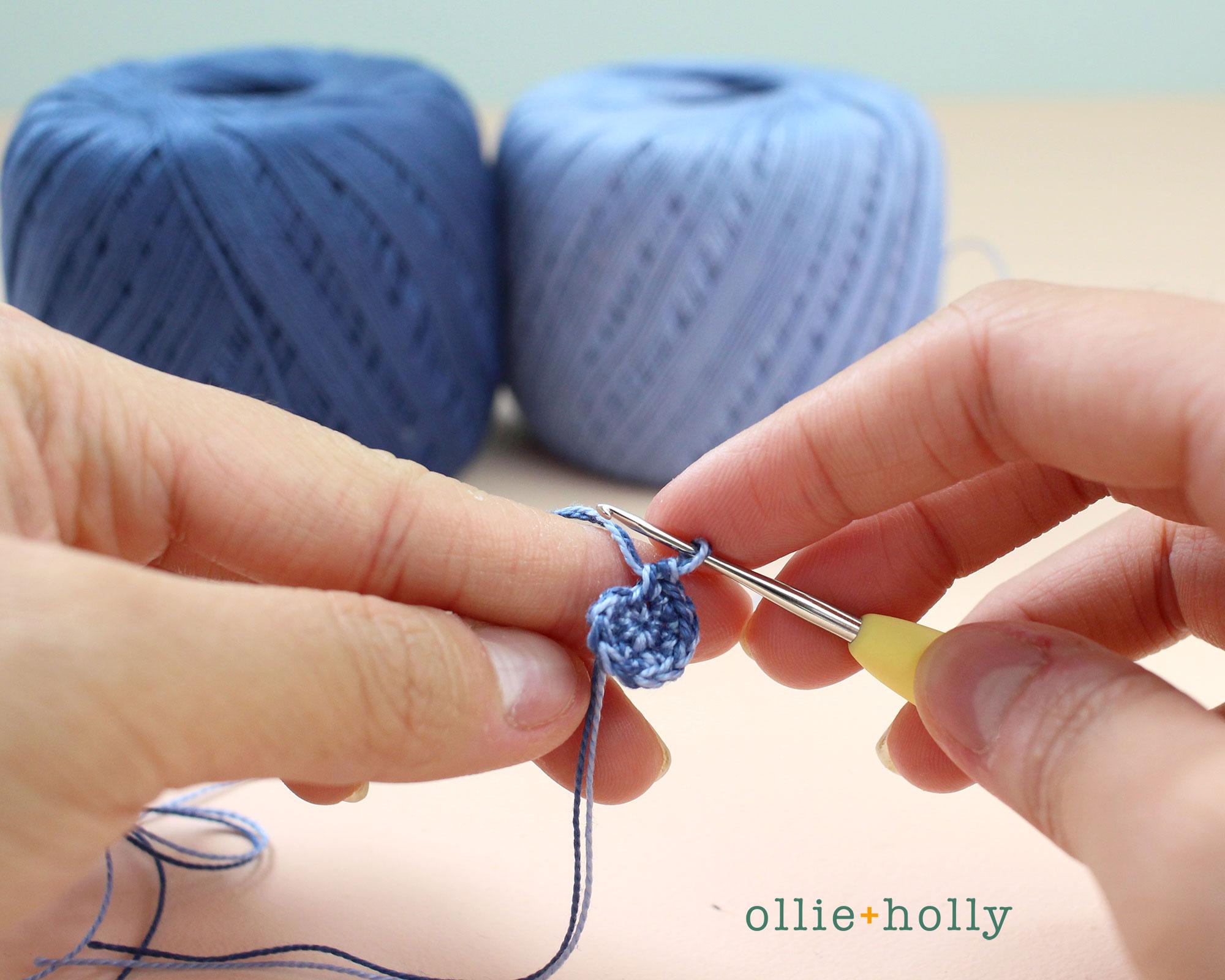 Free Blue Thistle Flowers Crochet Pattern Step 1