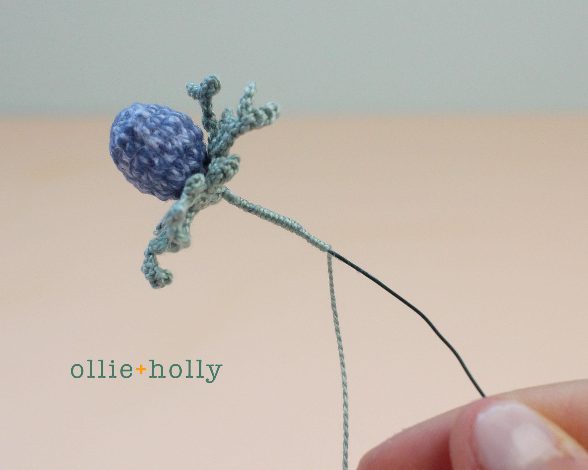 Free Blue Thistle Flowers Crochet Pattern Step 17