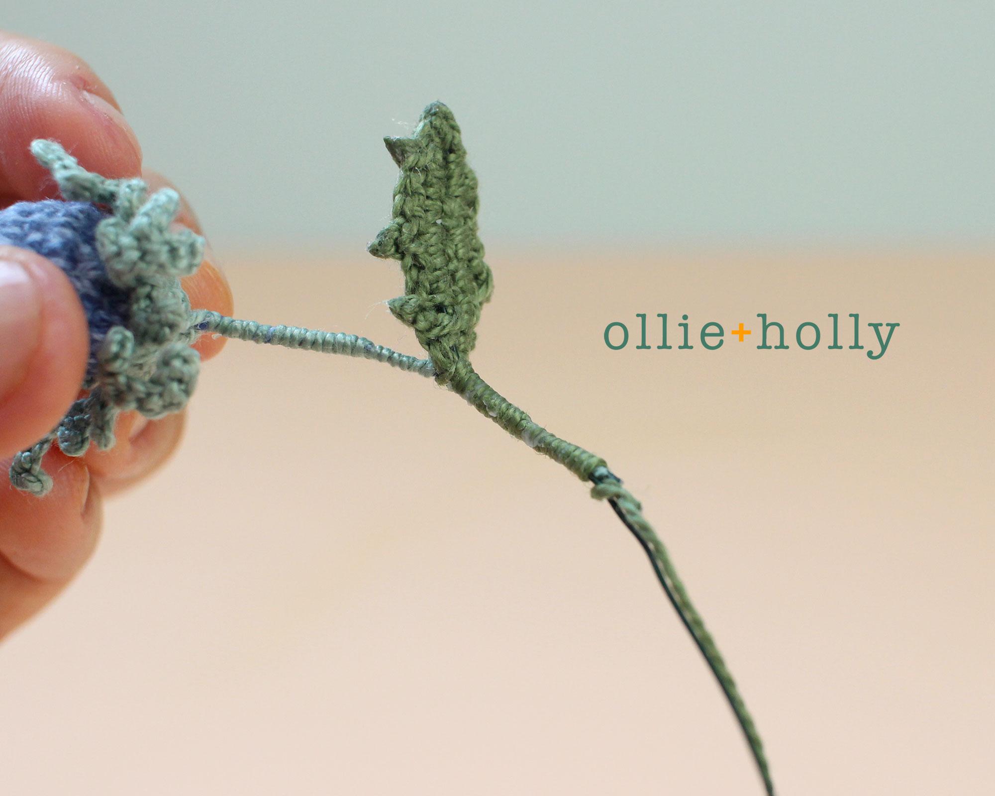 Free Blue Thistle Flowers Crochet Pattern Step 22