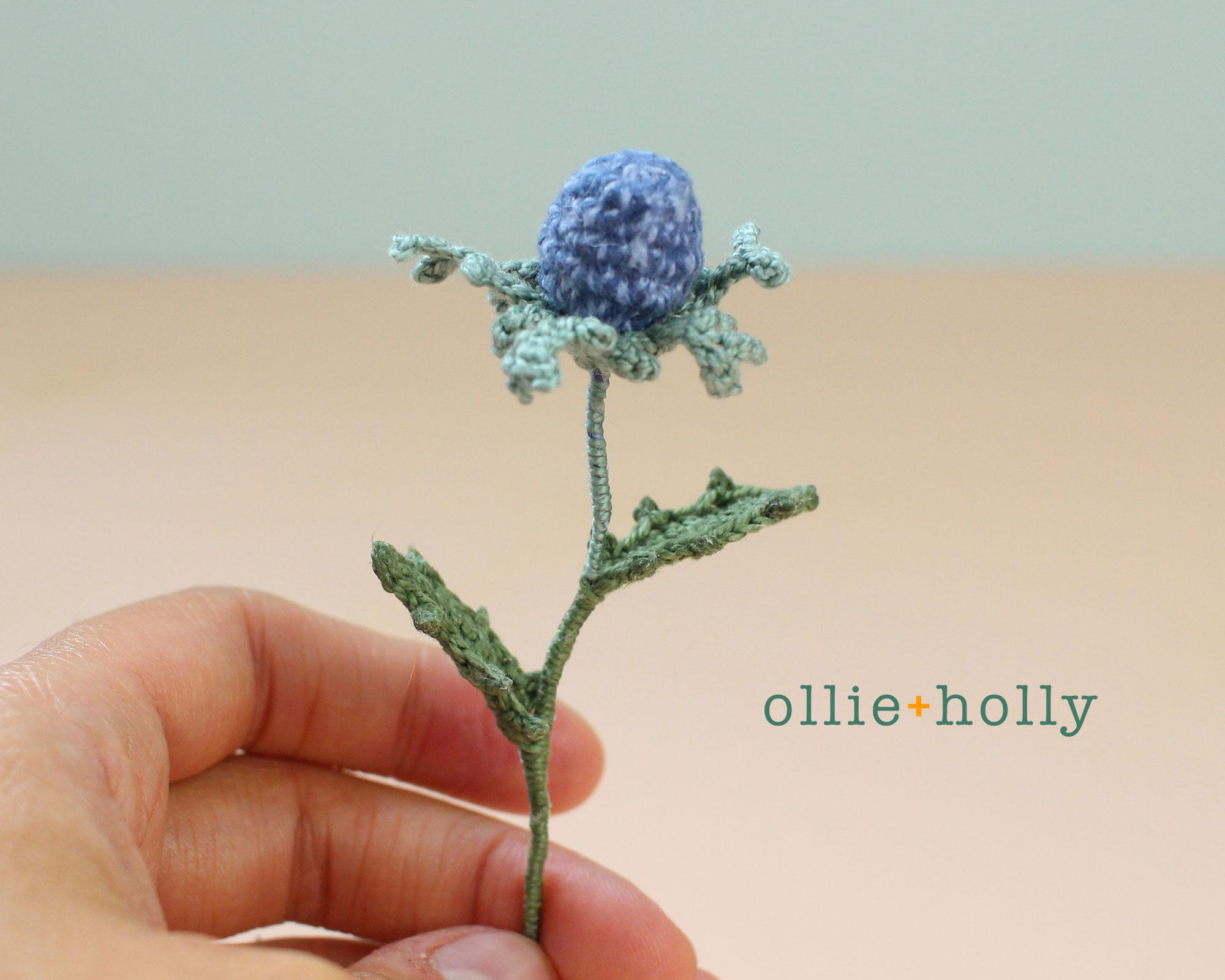 Free Blue Thistle Flowers Crochet Pattern Step 24