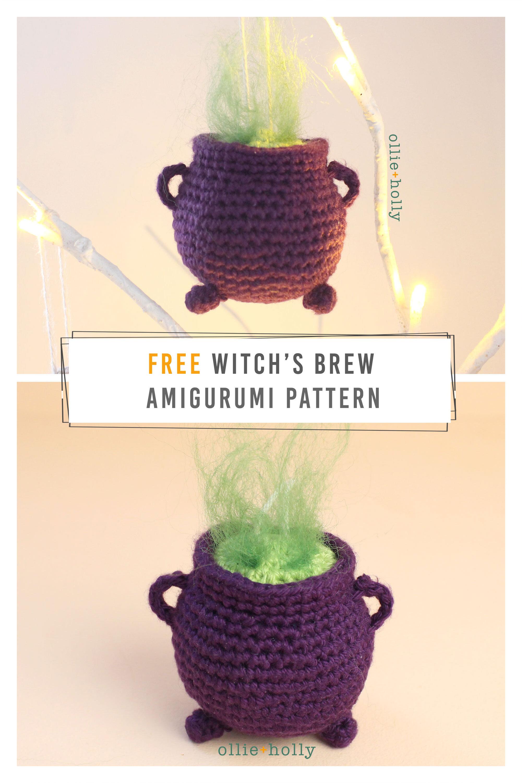 Free Witch's Halloween Cauldron Ornament Amigurumi Pattern