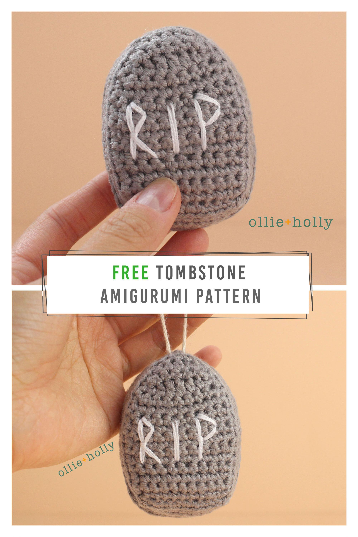 Free Halloween Tombstone Ornament Amigurumi Crochet Pattern