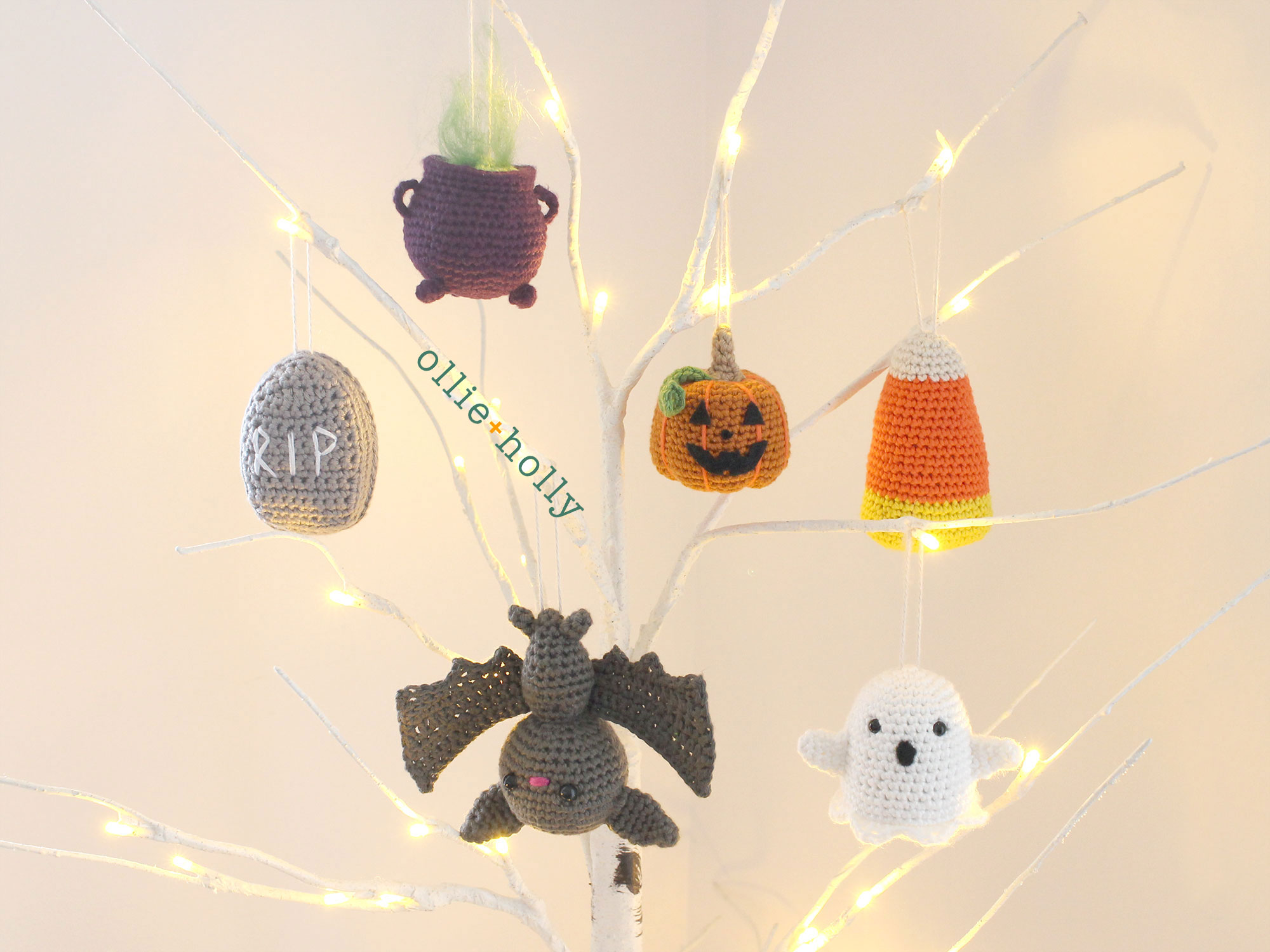 Free Halloween Tree DIY Ornaments Amigurumi Crochet Collection All