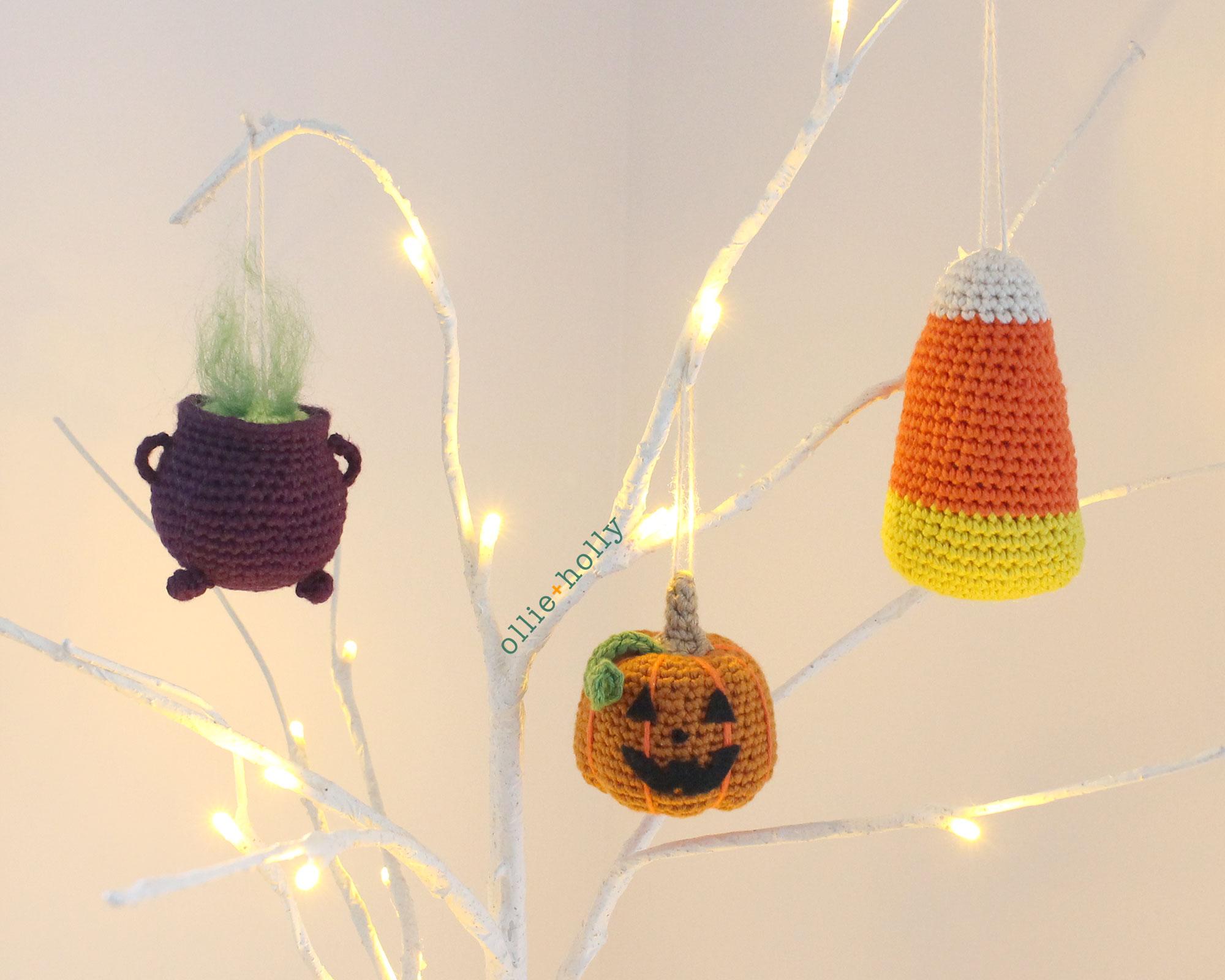 Free Halloween Tree DIY Ornaments Amigurumi Crochet Collection Trick or Treat Bundle