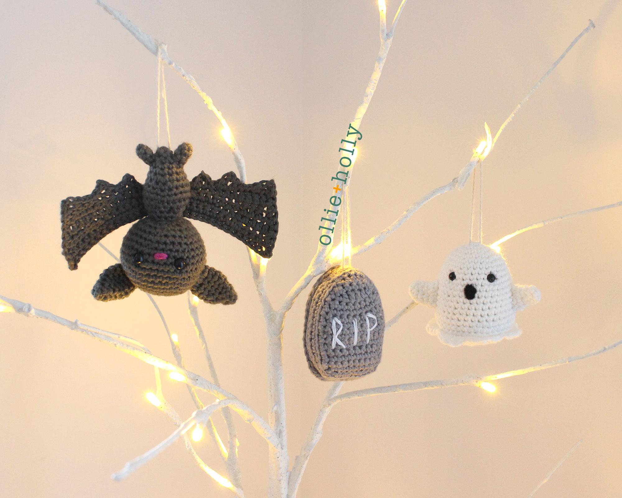 Free Halloween Tree DIY Ornaments Amigurumi Crochet Collection Graveyard Bundle