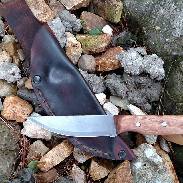 Eight inch trail knife with a hickory handle.  #customknifemaker #forgedknives #www.pineforgeknives.com
