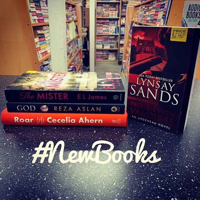 SO MANY GREAT NEW BOOKS!!!! @lynsaysands newest #Argeneau book, #TheTroubleWithVampires; @official_ceceliaahern new novel #Roar; #RezaAslan's #God; and #ElJames newestm #Mister. A great week for #romancelandia! Come see us soon. #indiesloveromance #bookstagram #2019 books #indiebookstore #bookstore #mableton #Smyrna