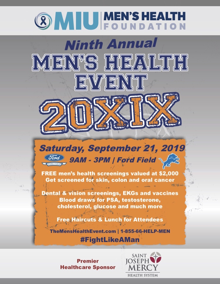 Join us on FORD FIELD for the    MIU Men's Health Event    which includes Mini- Holy Yoga Sessions, Orangetheory Fitness, Free Health Screeings, Haircuts and more! Saturday, September 21, 9am-3pm.