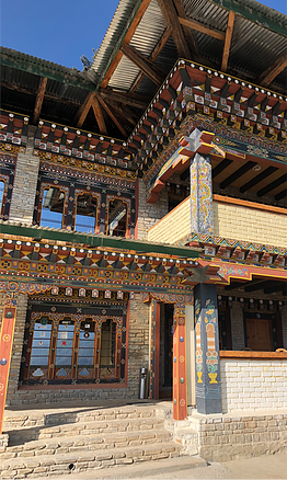 A traditional Bhutanese facade on a new building.png