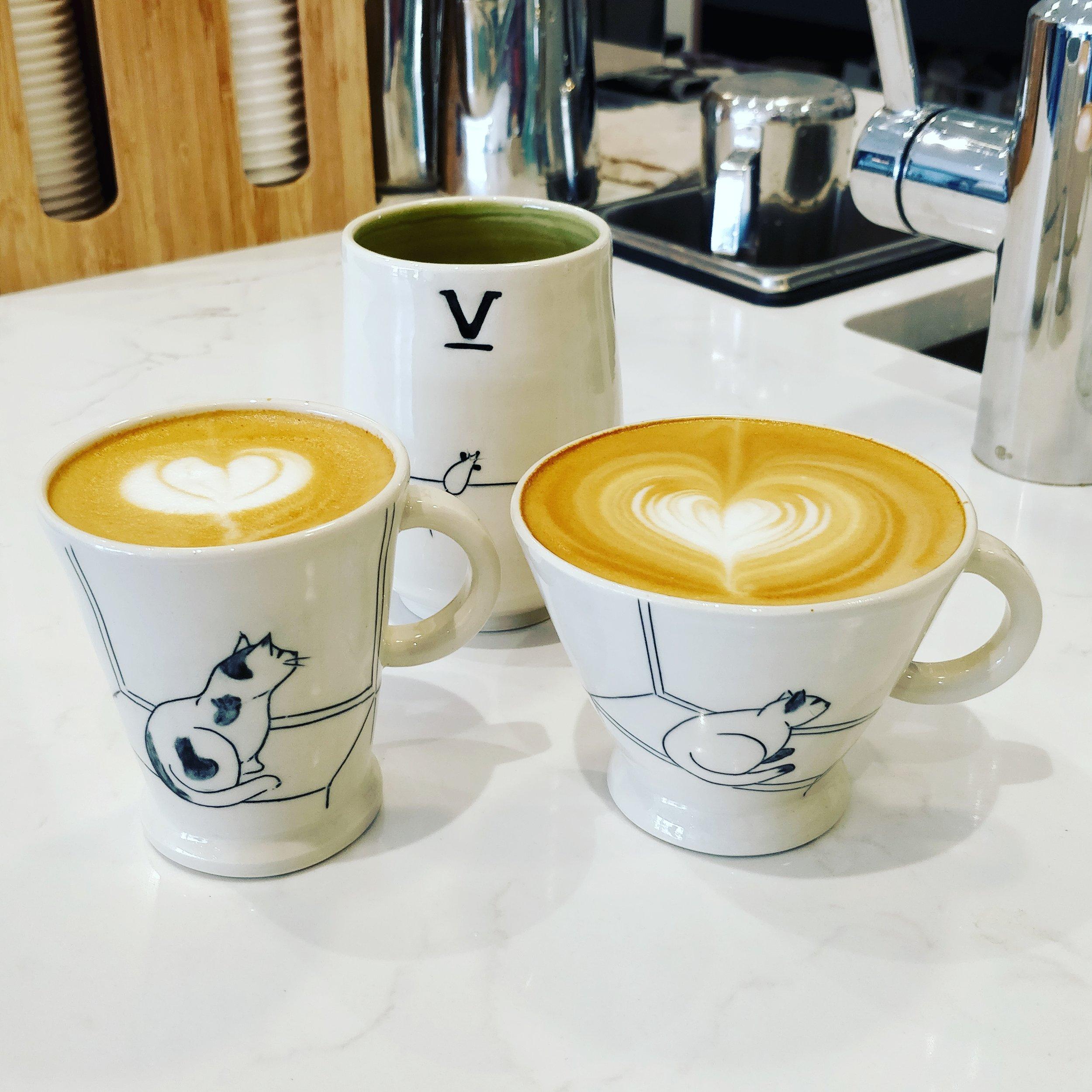 Left: Cappuccino, Right: Latte