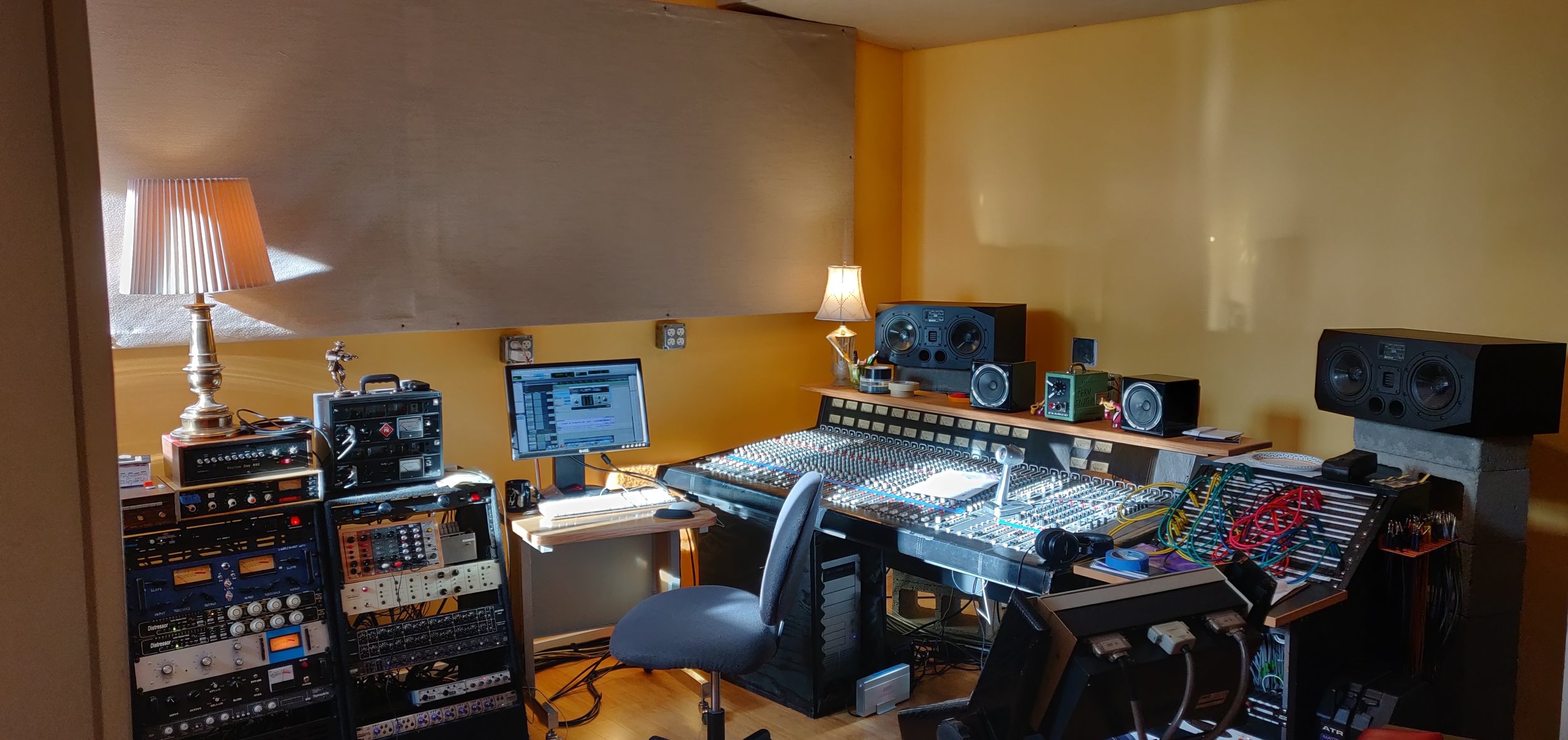 Our Control Room - pictured here is our 1984 Harrison Raven Console.