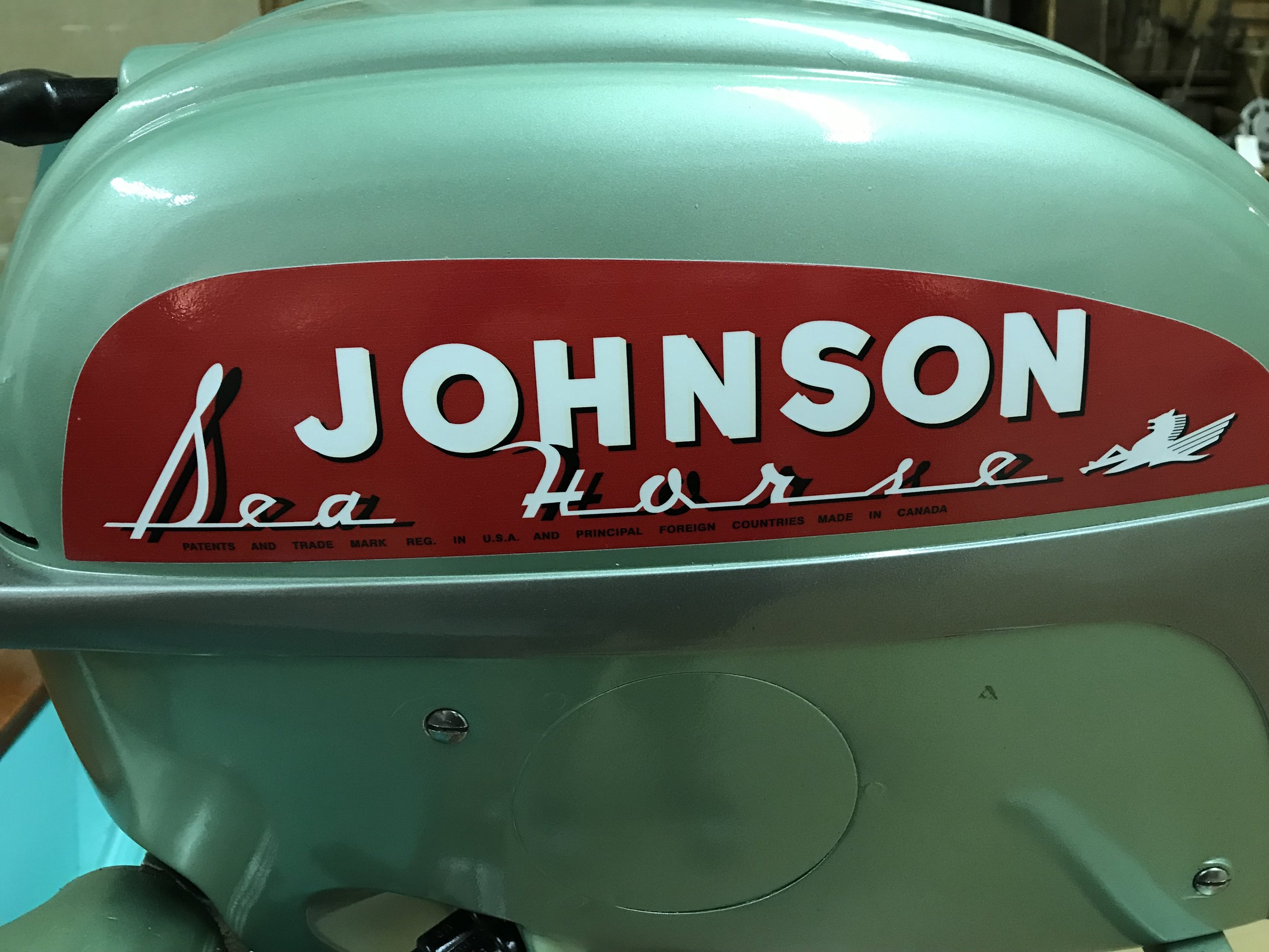 A Johnson outboard motor.
