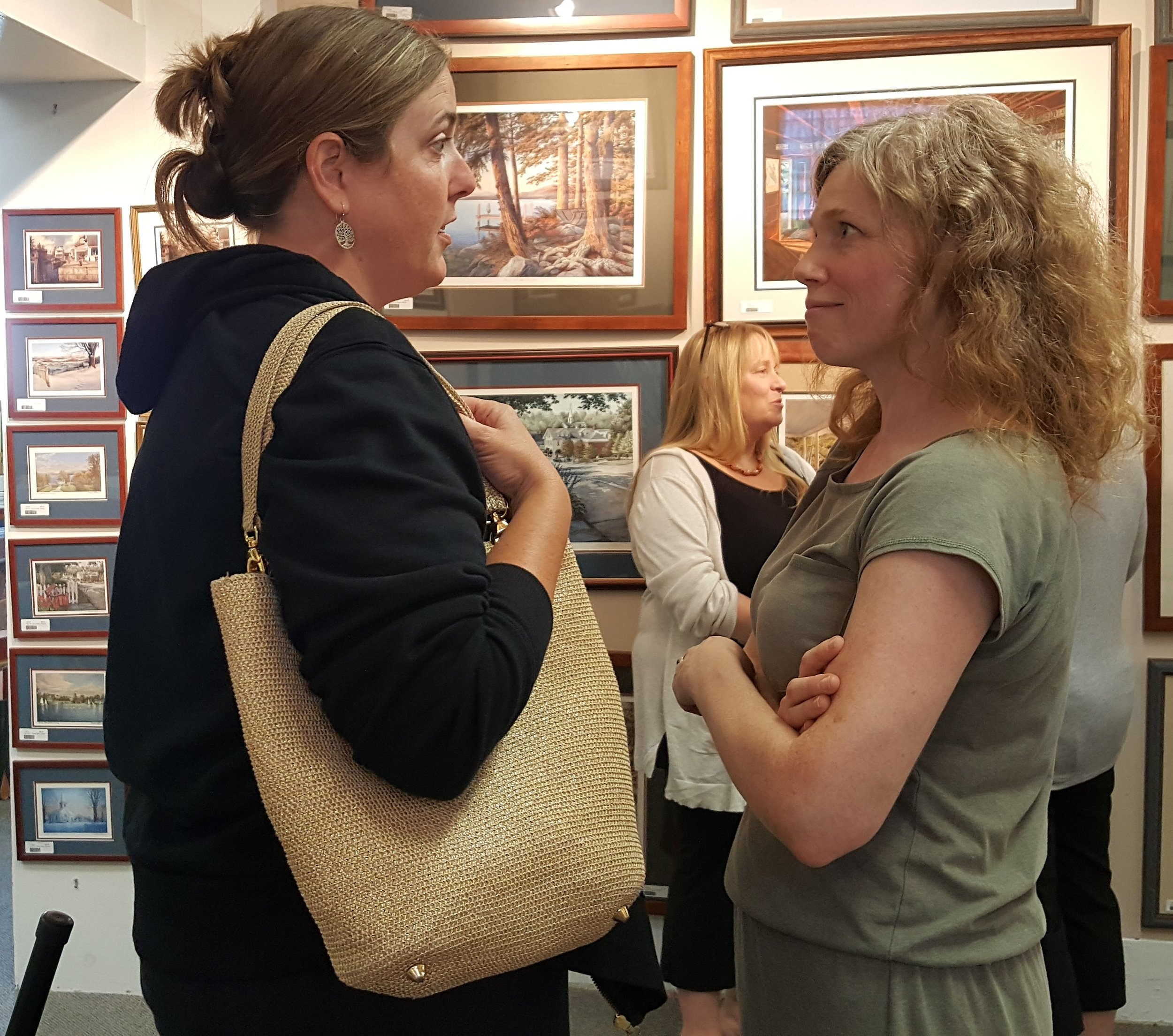 Corina Willette (right) at the Art Place. Photo by Barbara Wilson