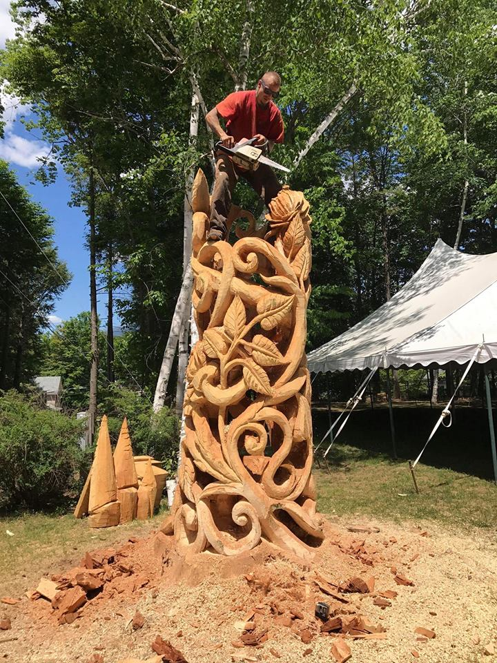 Finding red rot at the center of a huge tree in Woodstock derailed original plans for a sculpture but led to the creation of a new technique that produces filigree-like results. - (Carver Alex photo)