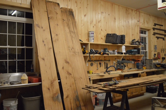 Reclaimed wood in Jerome Libby's workshop
