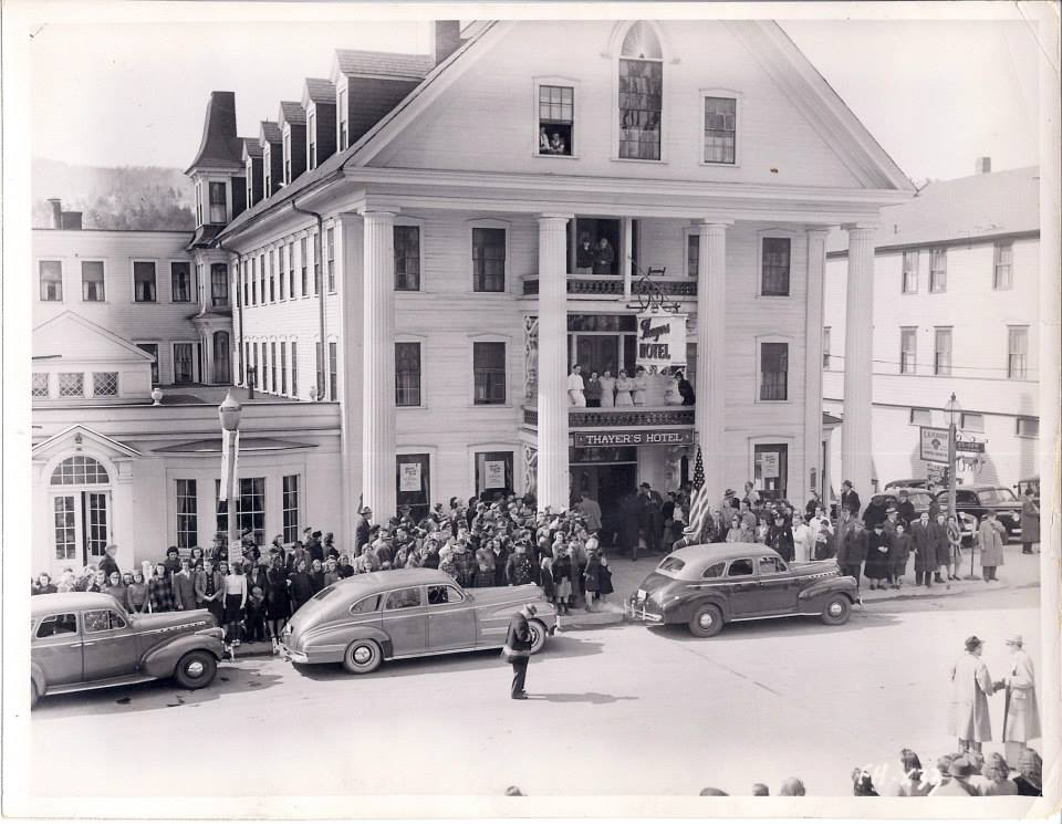Historic image of Thayer's Hotel, Littleton, NH during the gala premier of a Bette Davis event. The name of the hotel was later changed to Thayer's Inn. (Photo courtesy Littleton Historical Museum)
