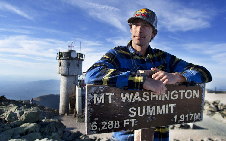 Travis Pastrana on the top of Mt. Washington (Photo courtesy of www.motortrend.com)