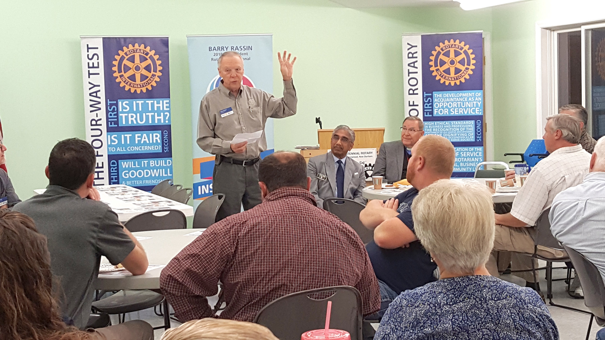 District Governor Venu Rao is introduced to the Alton Centennial Rotary Club. The leader is meeting with each of the 59 clubs in his Southern NH & VT district, encouraging them to find ways to share more publicly about the meaningful work they do in their communities and around the world.