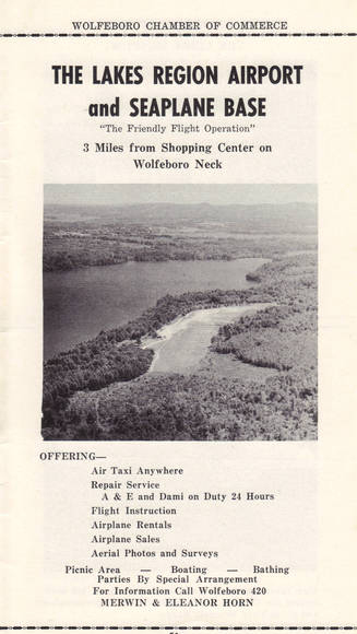 An old advertisement for the airport. (Courtesy Wolfeboro Historical Society)