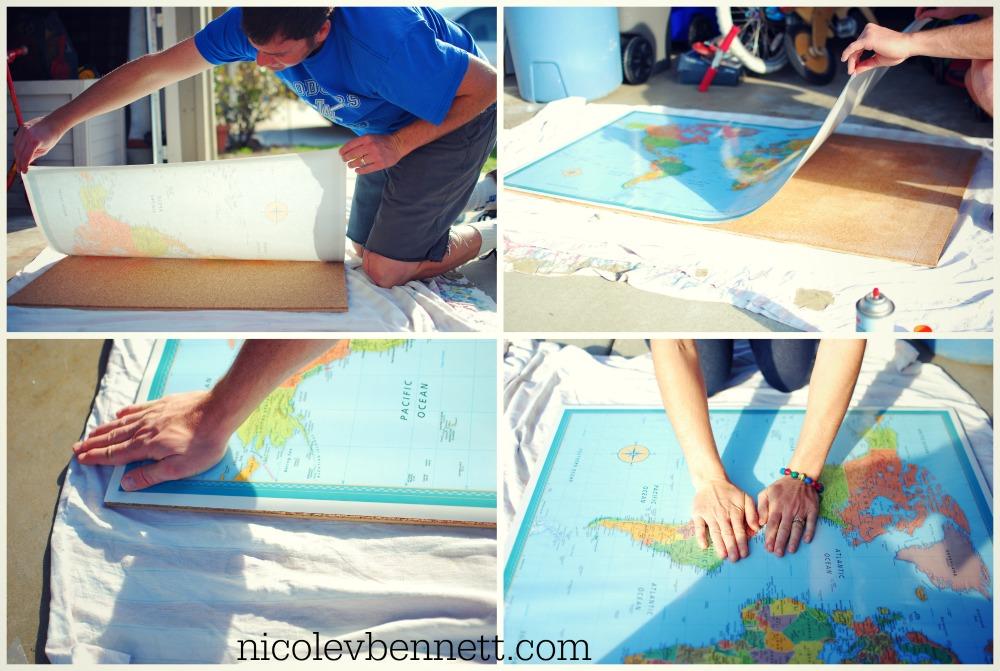 glue down map- DIY framed map