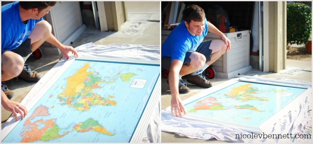 line up trim-- DIY framed map