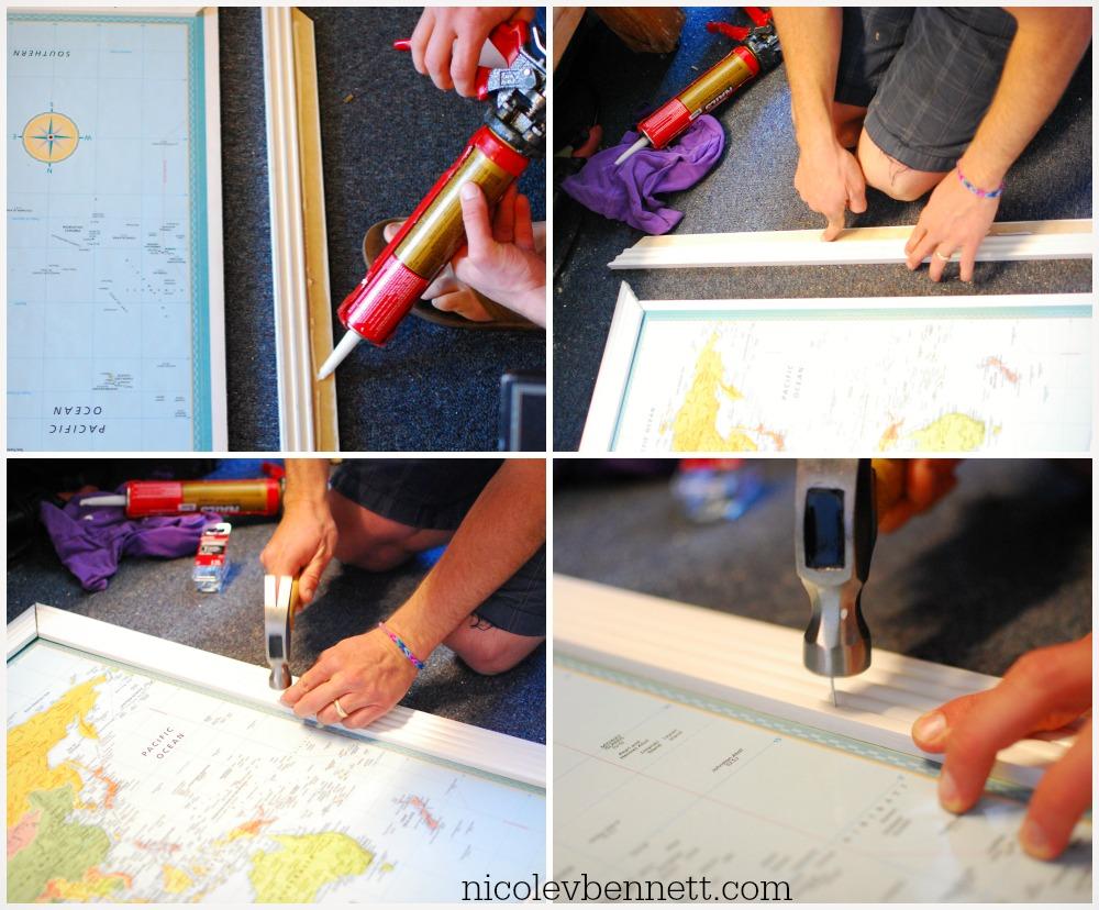 glue and nail trim-- DIY framed map