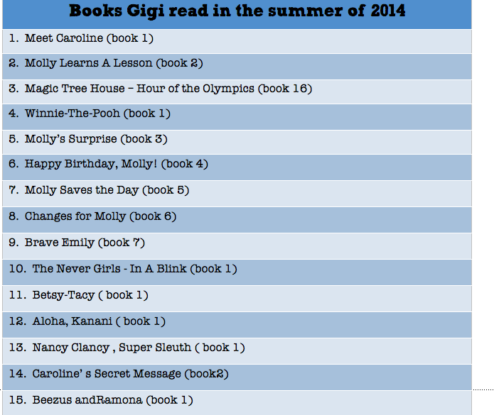 Gigi's summer reading challenge