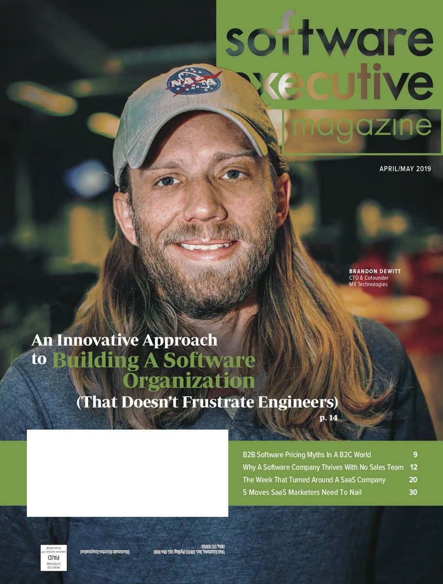 Dewitt on the cover of Software Executive Magazine
