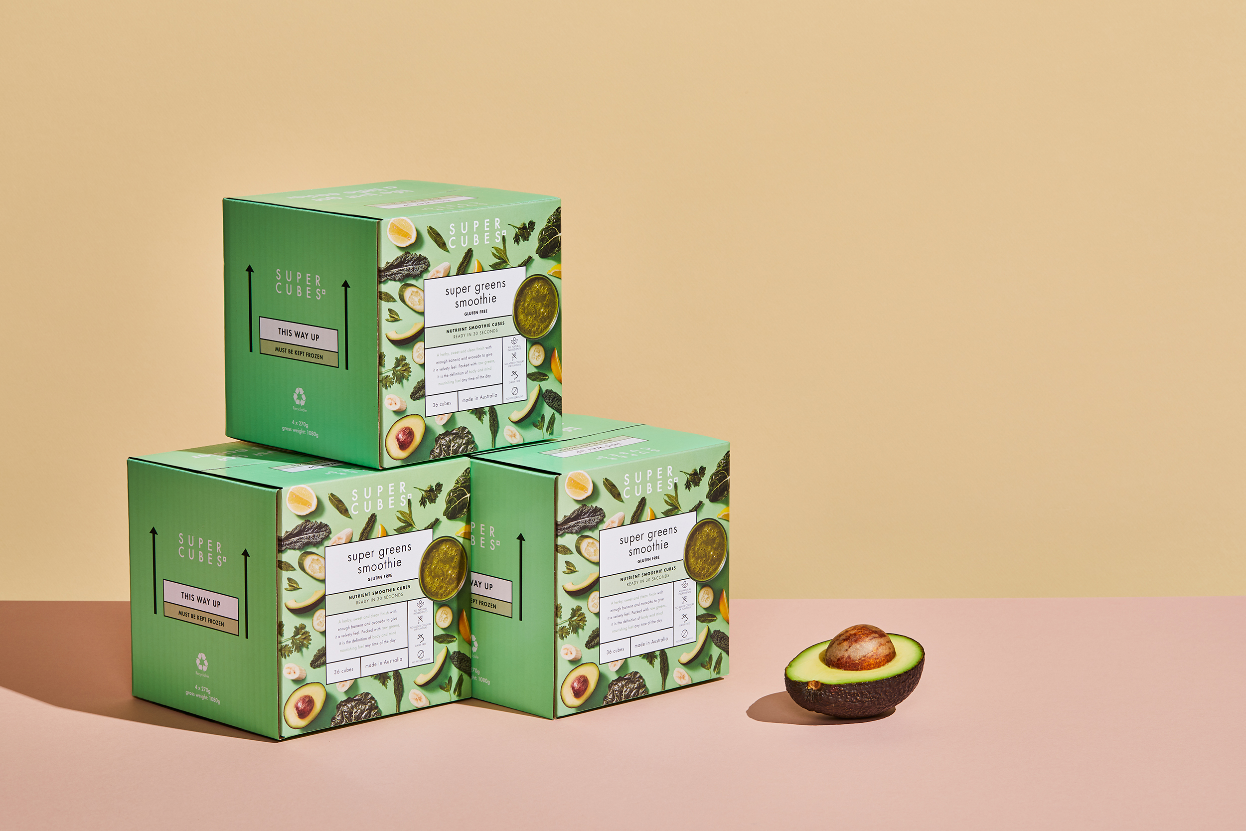 Super Cubes Packaging shot by Sydney advertising photographer Benito Martin