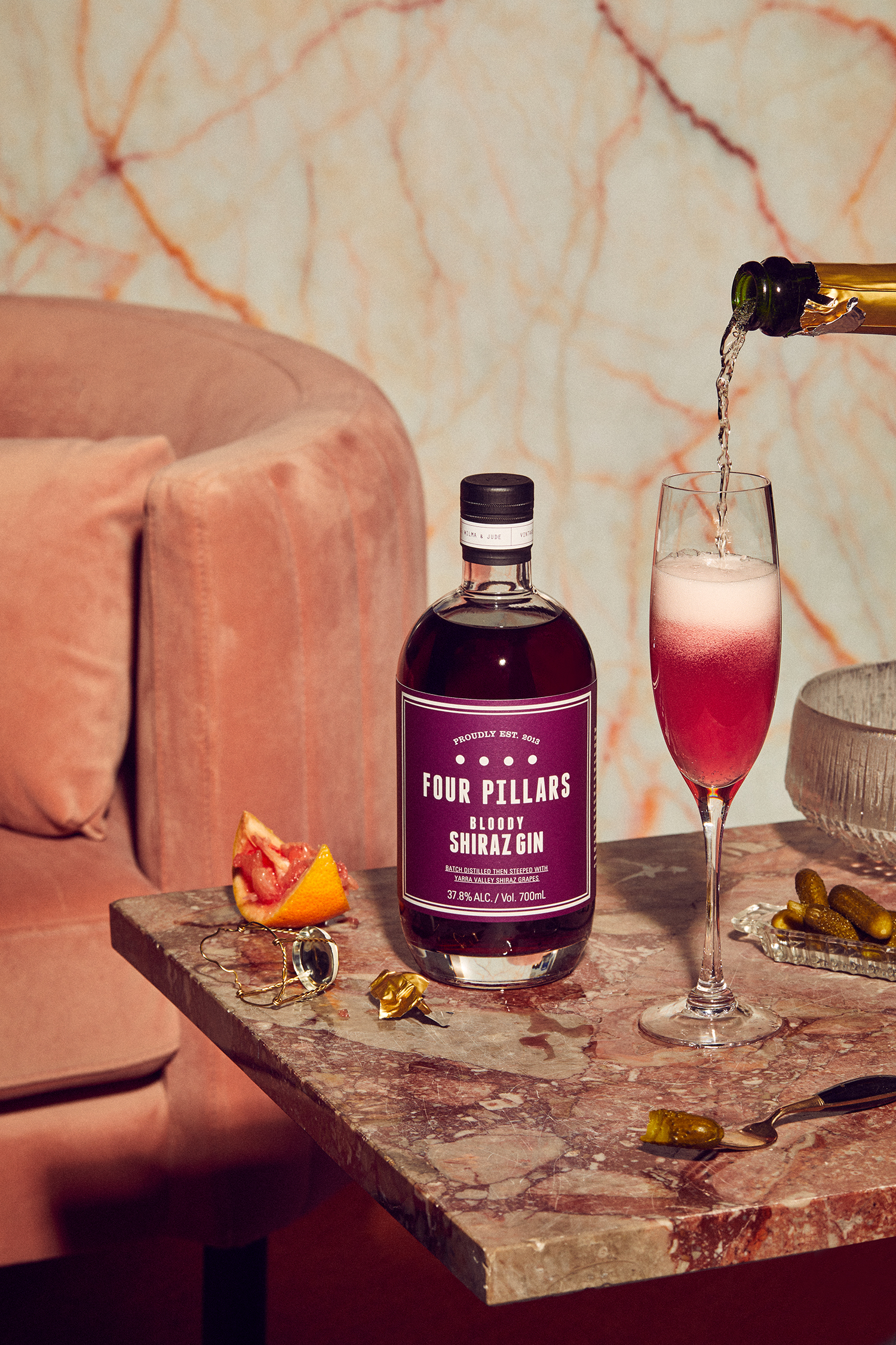 Four Pillars Bloody Shiraz Gin shot by Sydney advertising food and lifestyle photographer Benito Martin