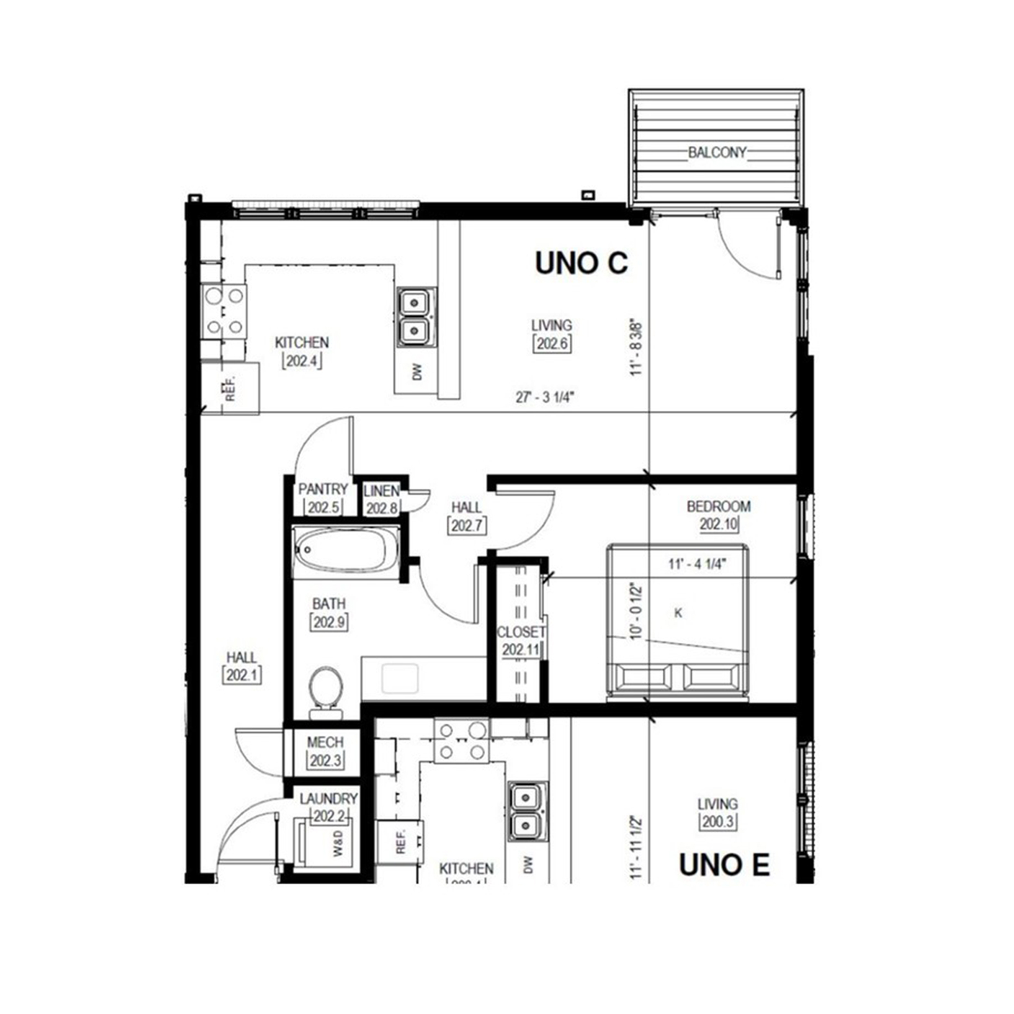 Uno C   1 Bed, 1 Bath