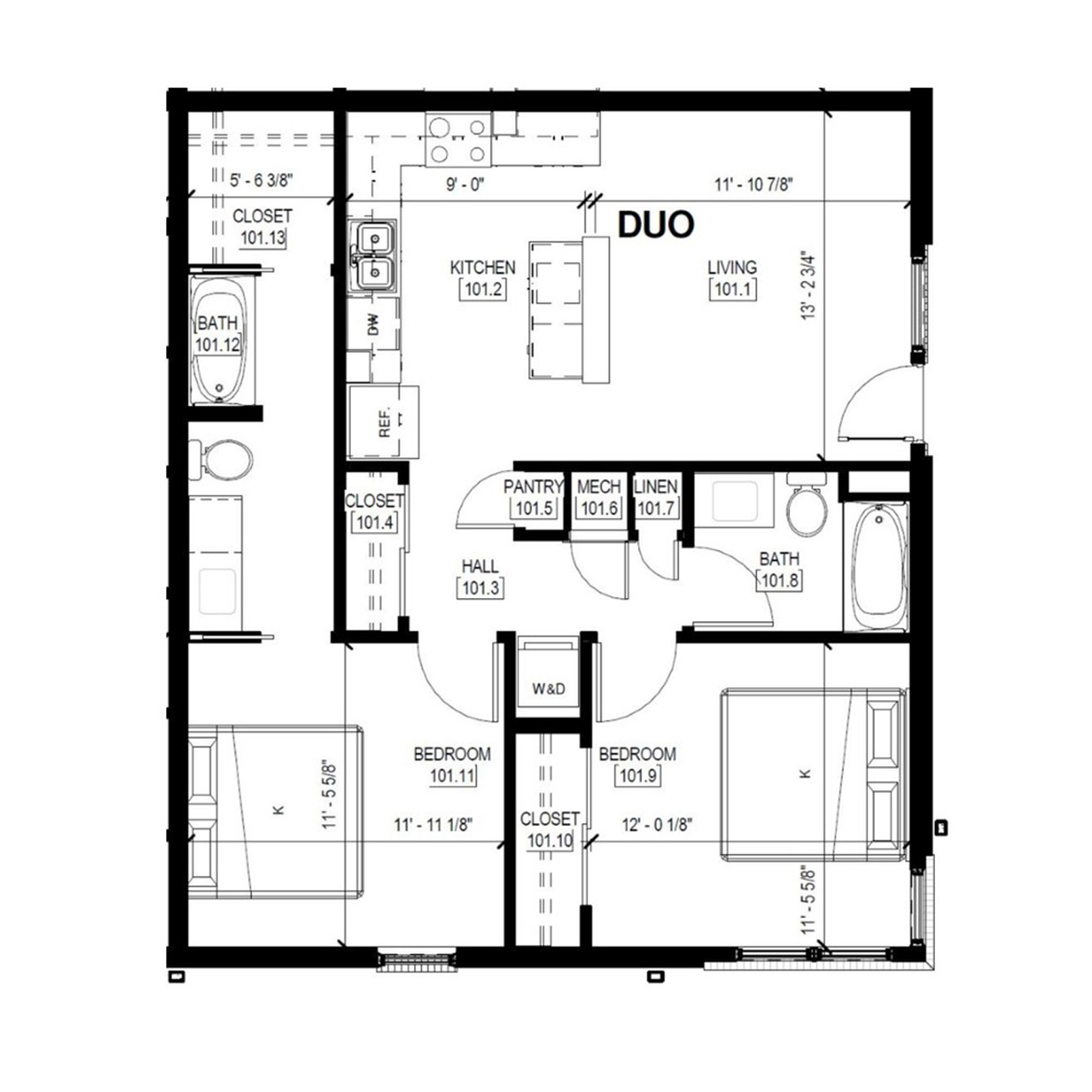 Duo A   2 Bed, 2 Bath
