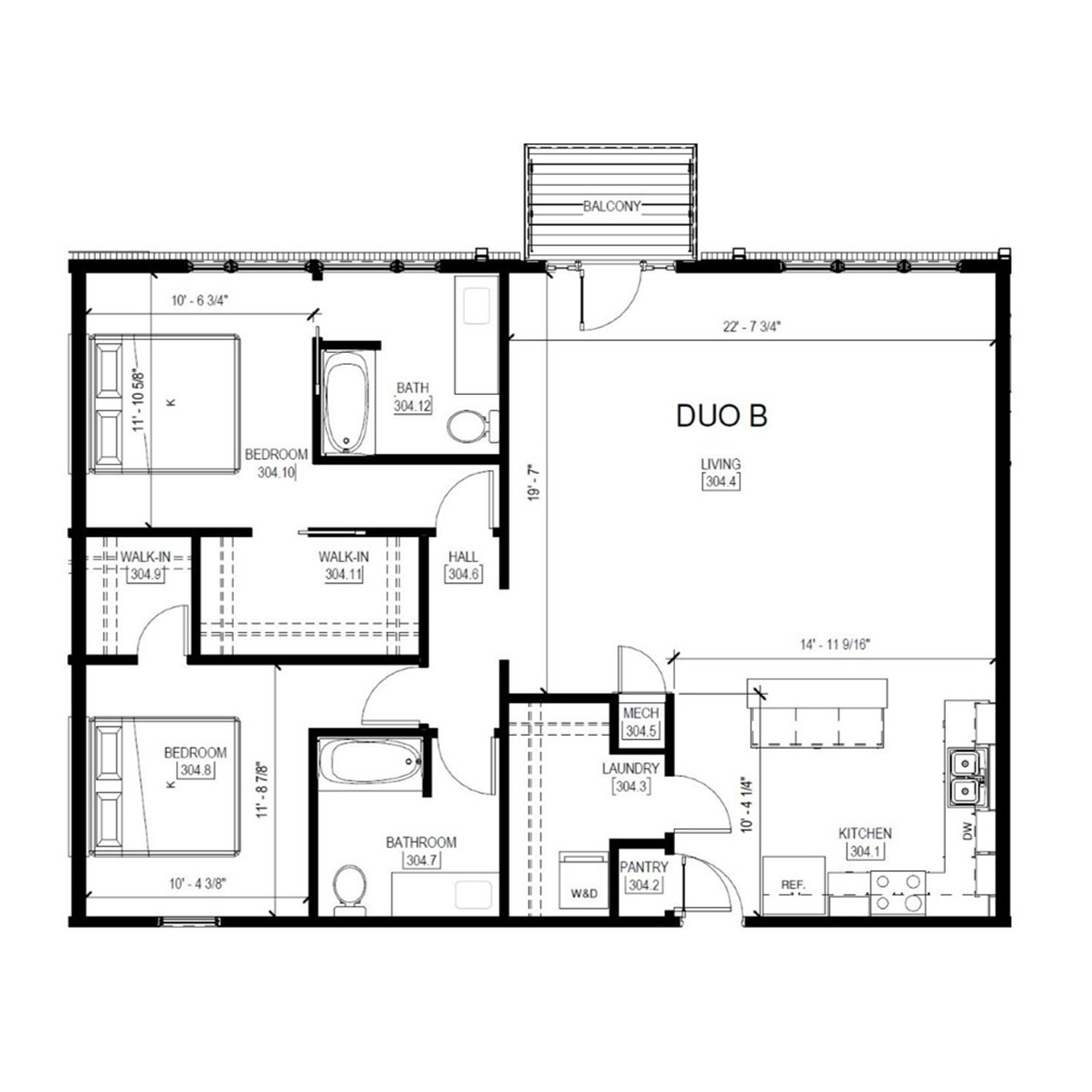 Duo B   2 Bed, 2 Bath
