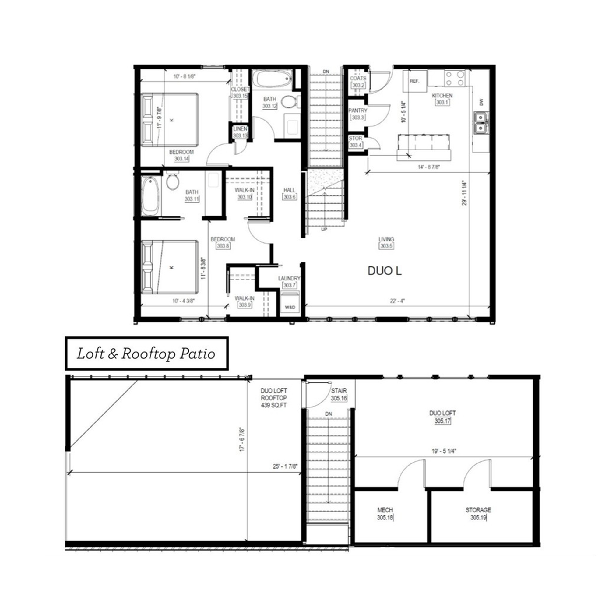 Duo L   2 Bed, 2 Bath, Loft