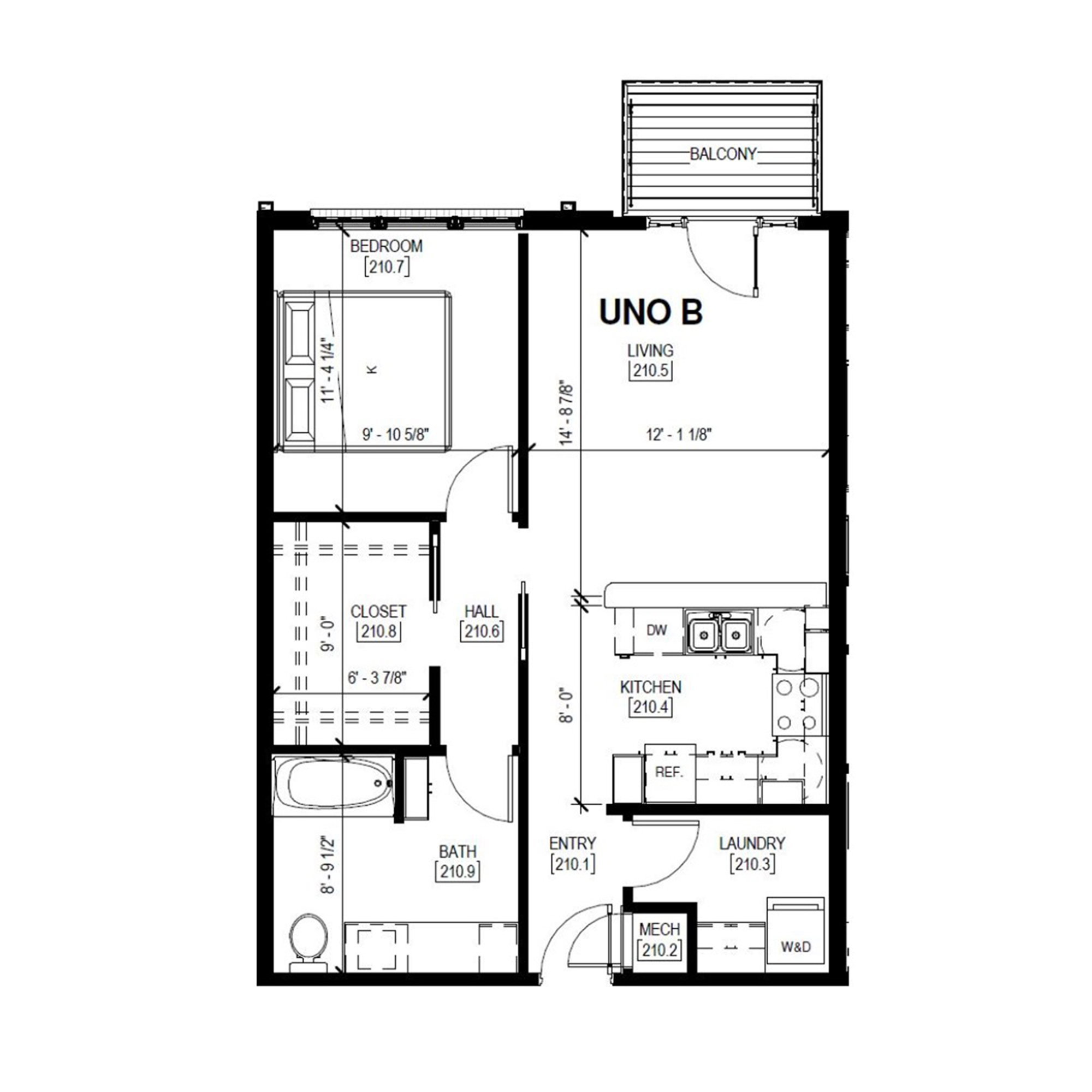 Uno B   1 Bed, 1 Bath
