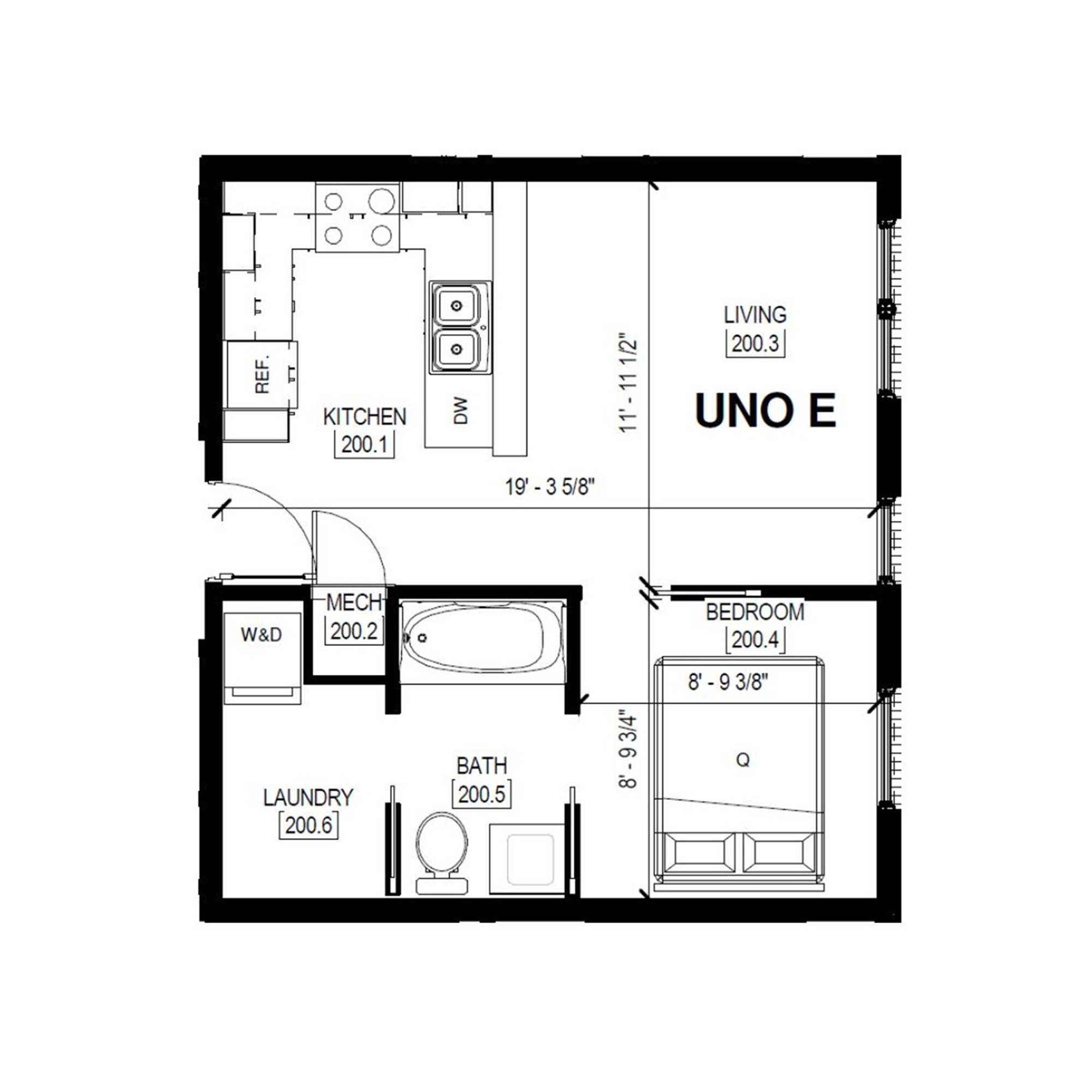 Uno E   1 Bed, 1 Bath