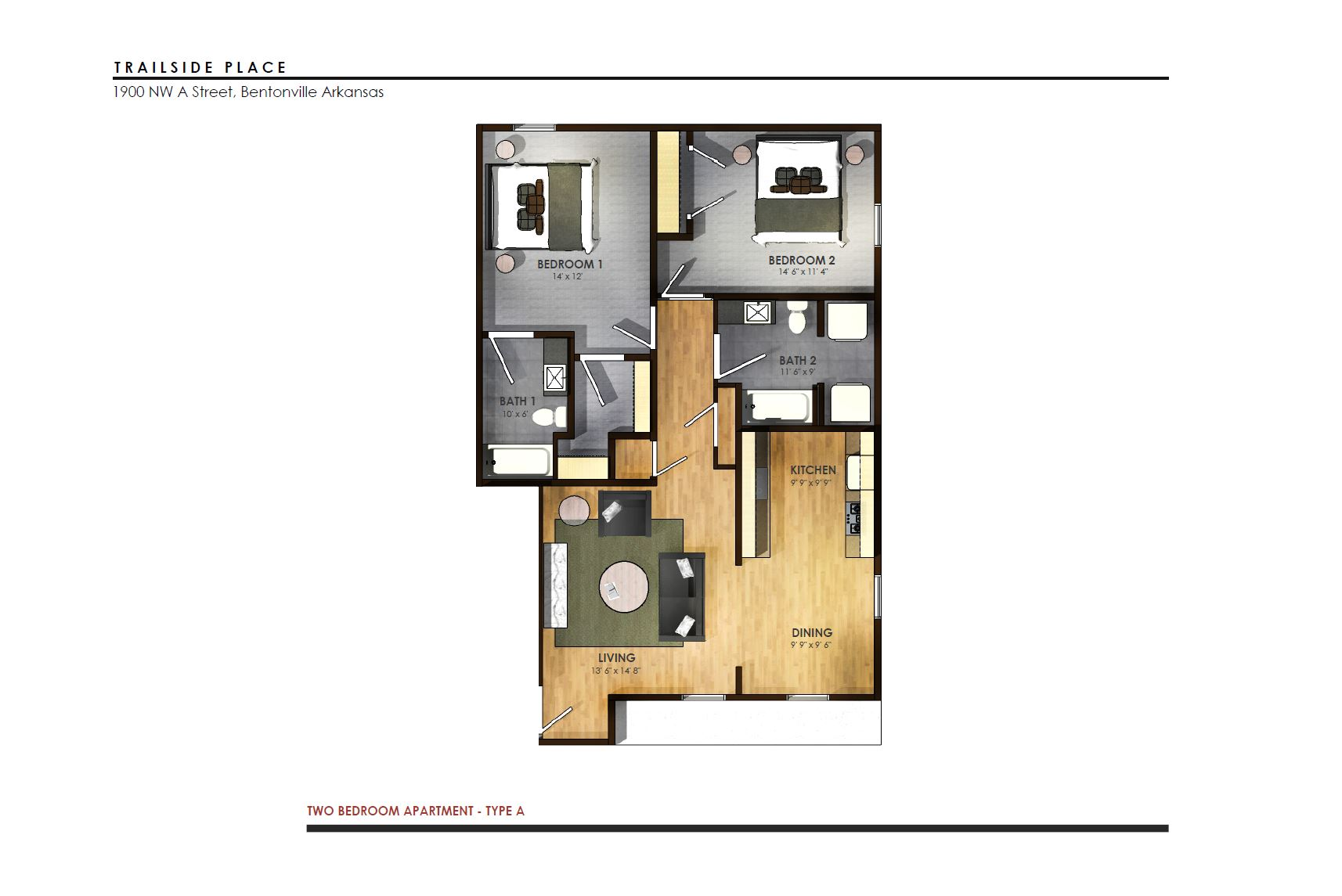 Trailside Place 2 Bedroom, 2 Bathroom   925 Sq/ft