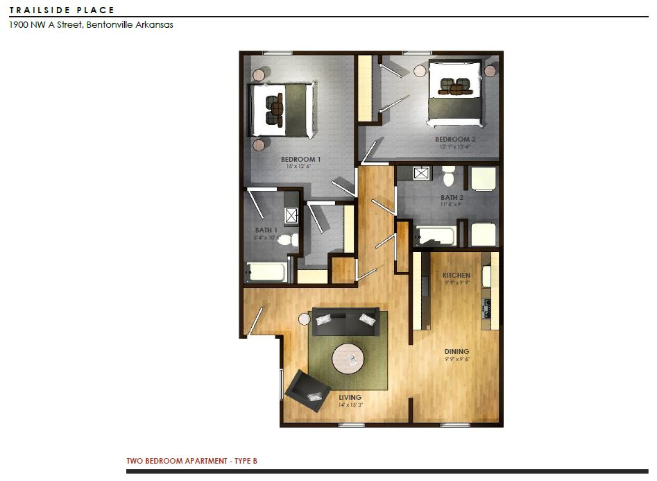Trailside Place 2 Bedroom, 2 Bathroom   950 Sq/ft