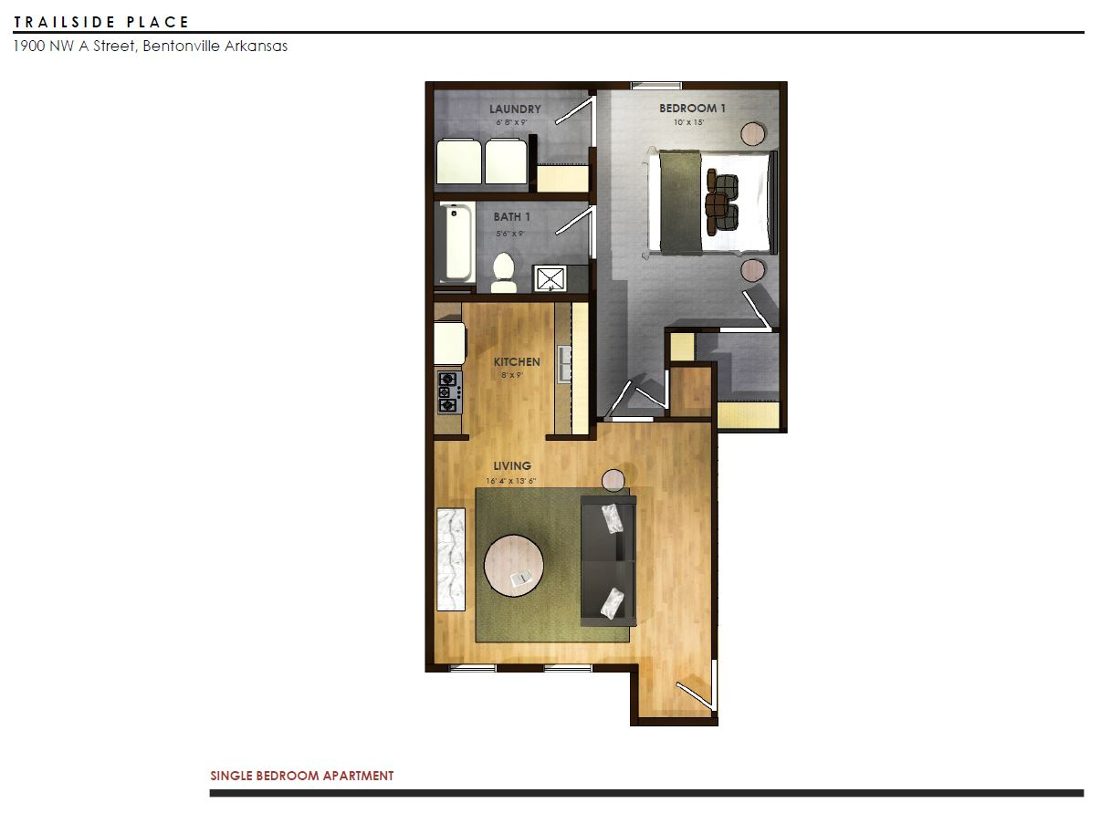 Trailside Place 1 Bedroom, 1 Bathroom   725 Sq/ft