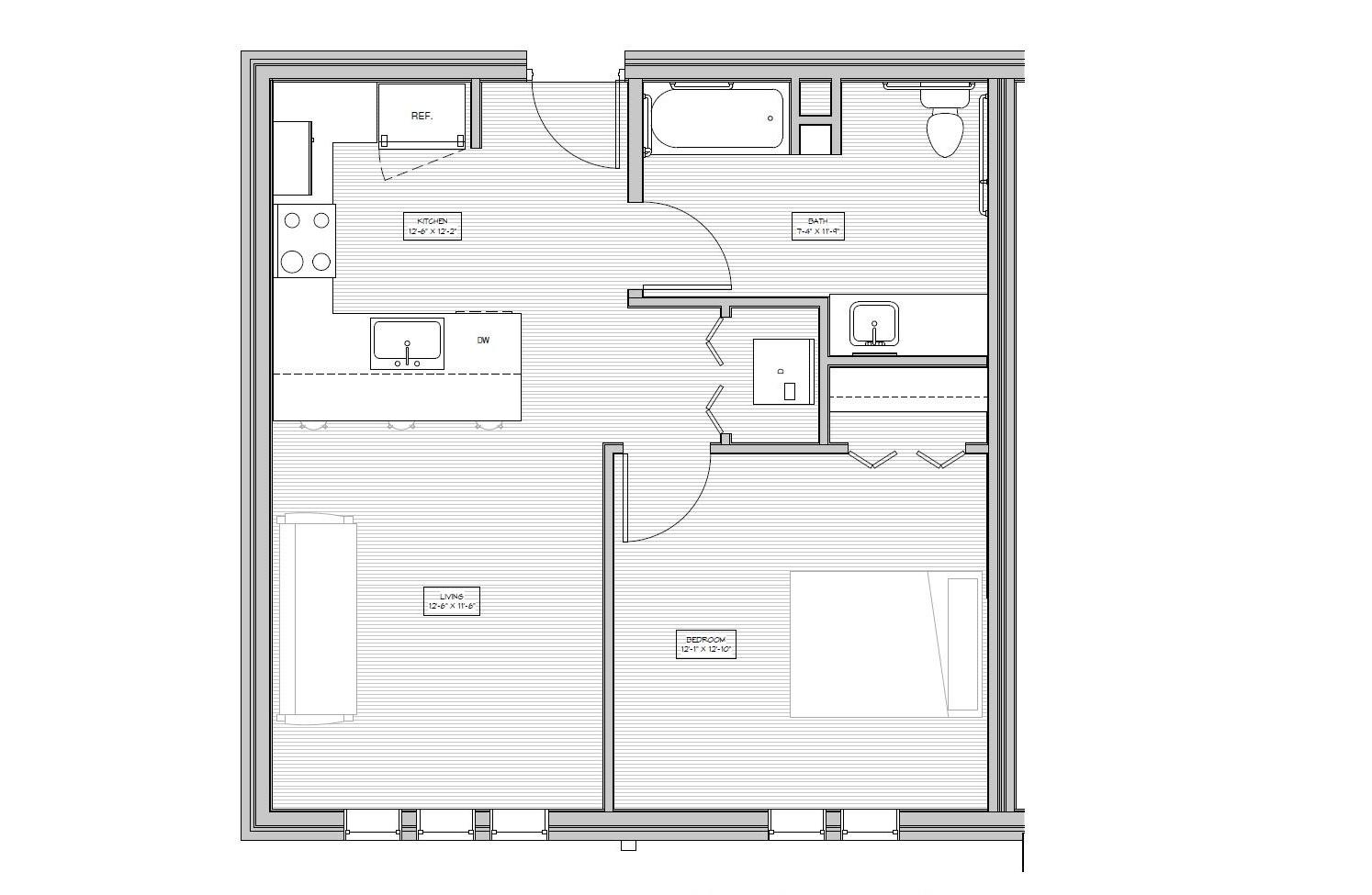 The Village, Flat ADA 1 Bedroom, 1 Bathroom   605 Sq/ft