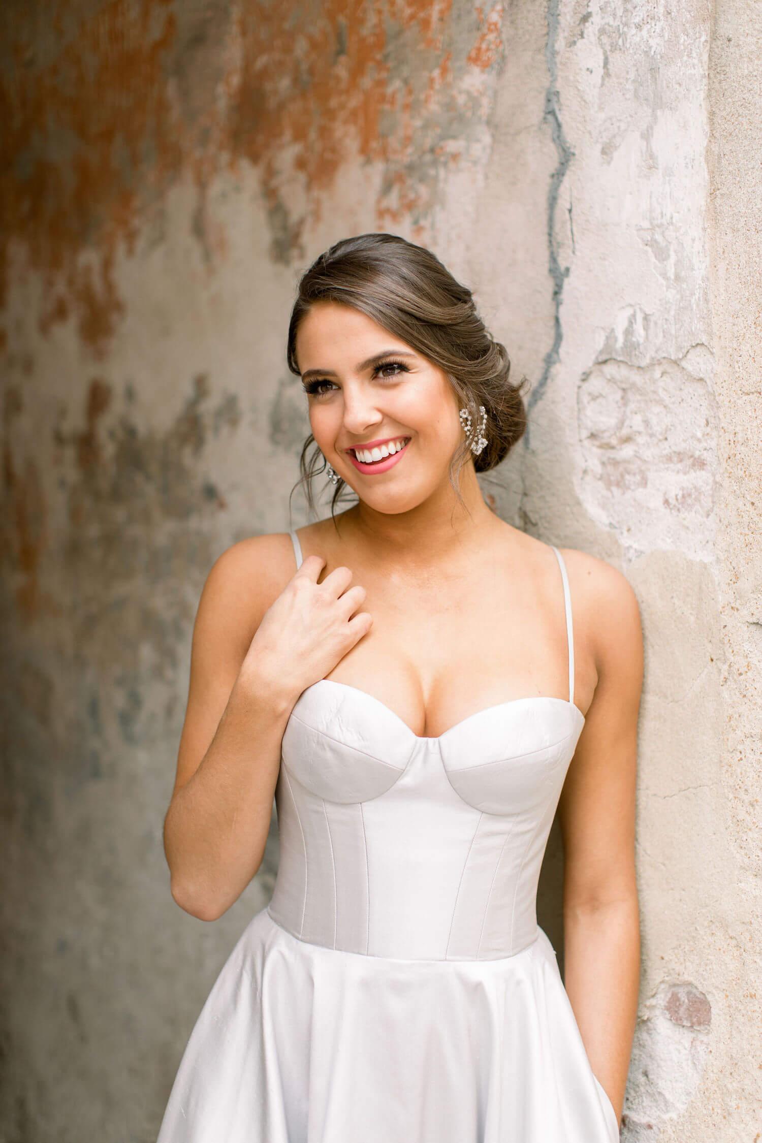 bride wearing romona keveza in Charleston SC.JPG
