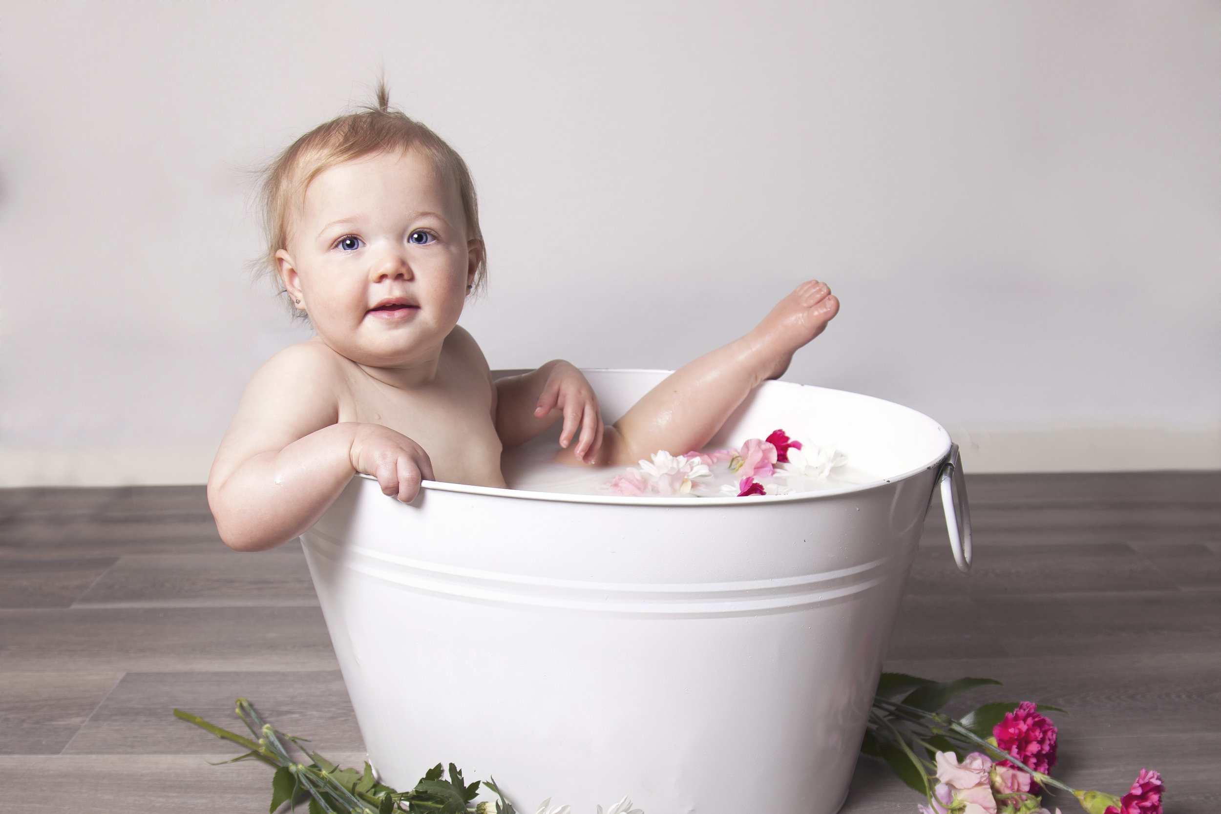 Toddler Milk Bath with Flowers