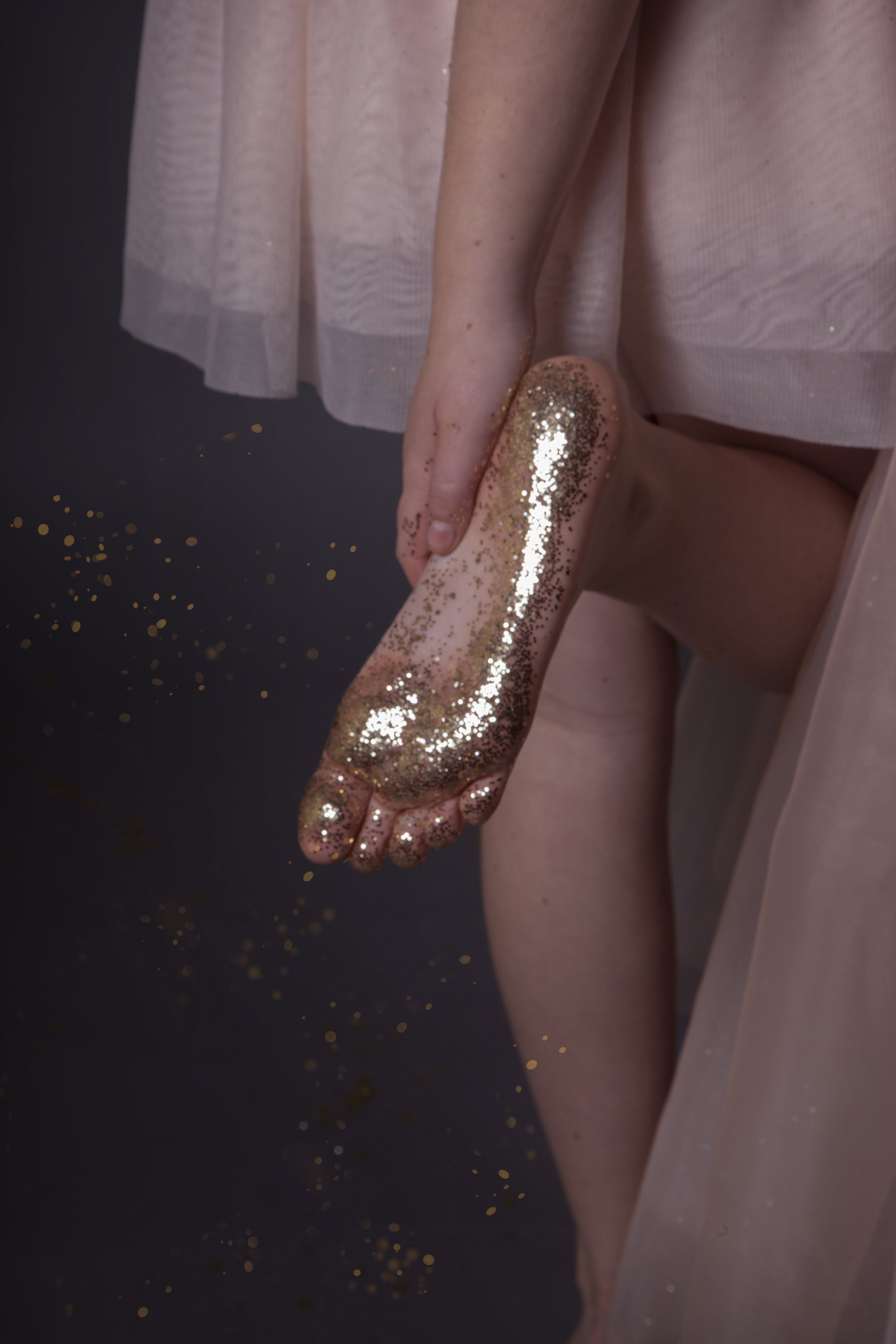 Foot With Gold Glitter