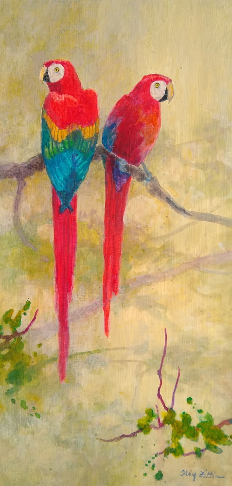 "Scarlet Macaw Pair 12"" x 6"" acrylic on wood panel"
