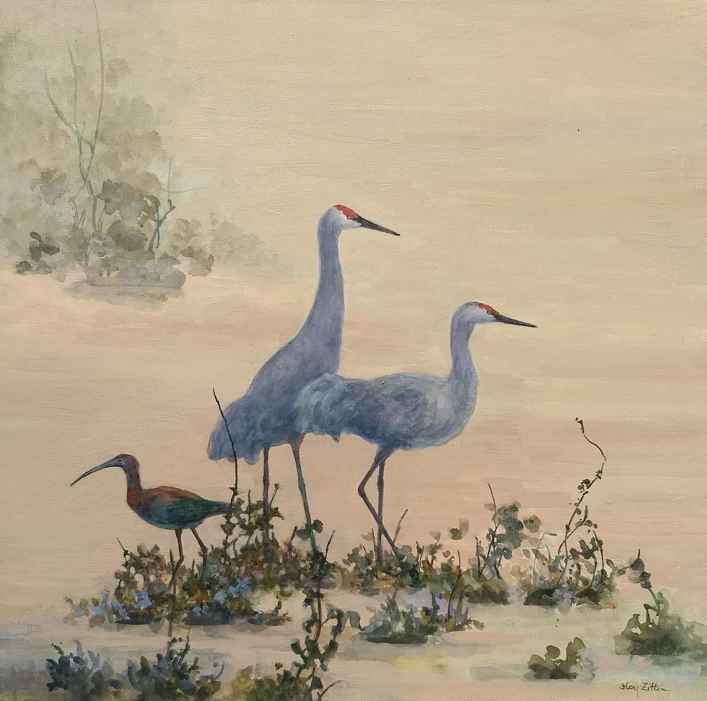"'Sandhill Cranes and Ibis', 16"" x 16"",  watermedia on wood panel"