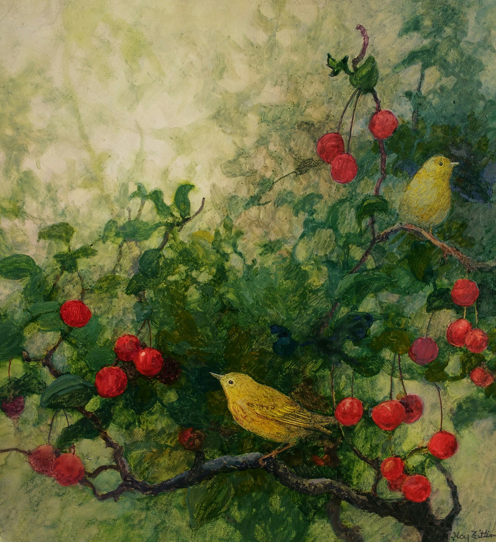"Yellow Warblers and Wild Cherries 12"" x 12"" watercolor on wood panel"